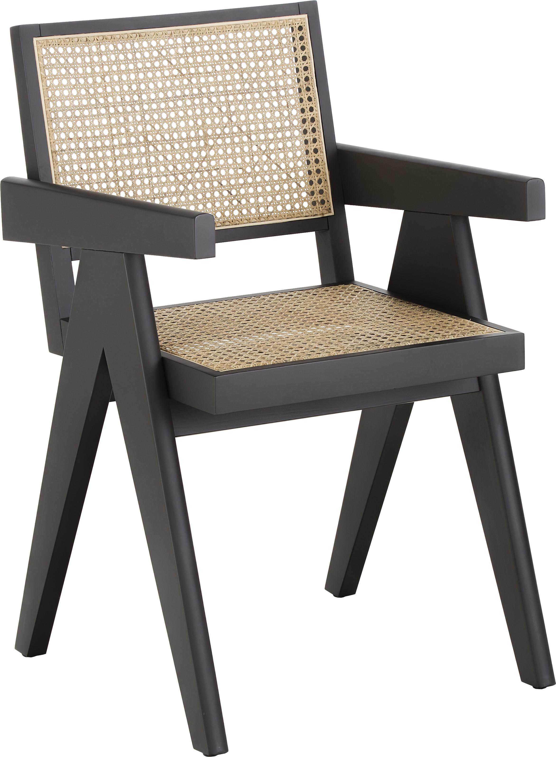 Silla con reposabrazos Sissi, Estructura: madera de haya maciza pin, Asiento: ratán, Ratán, negro, An 52 x F 58 cm