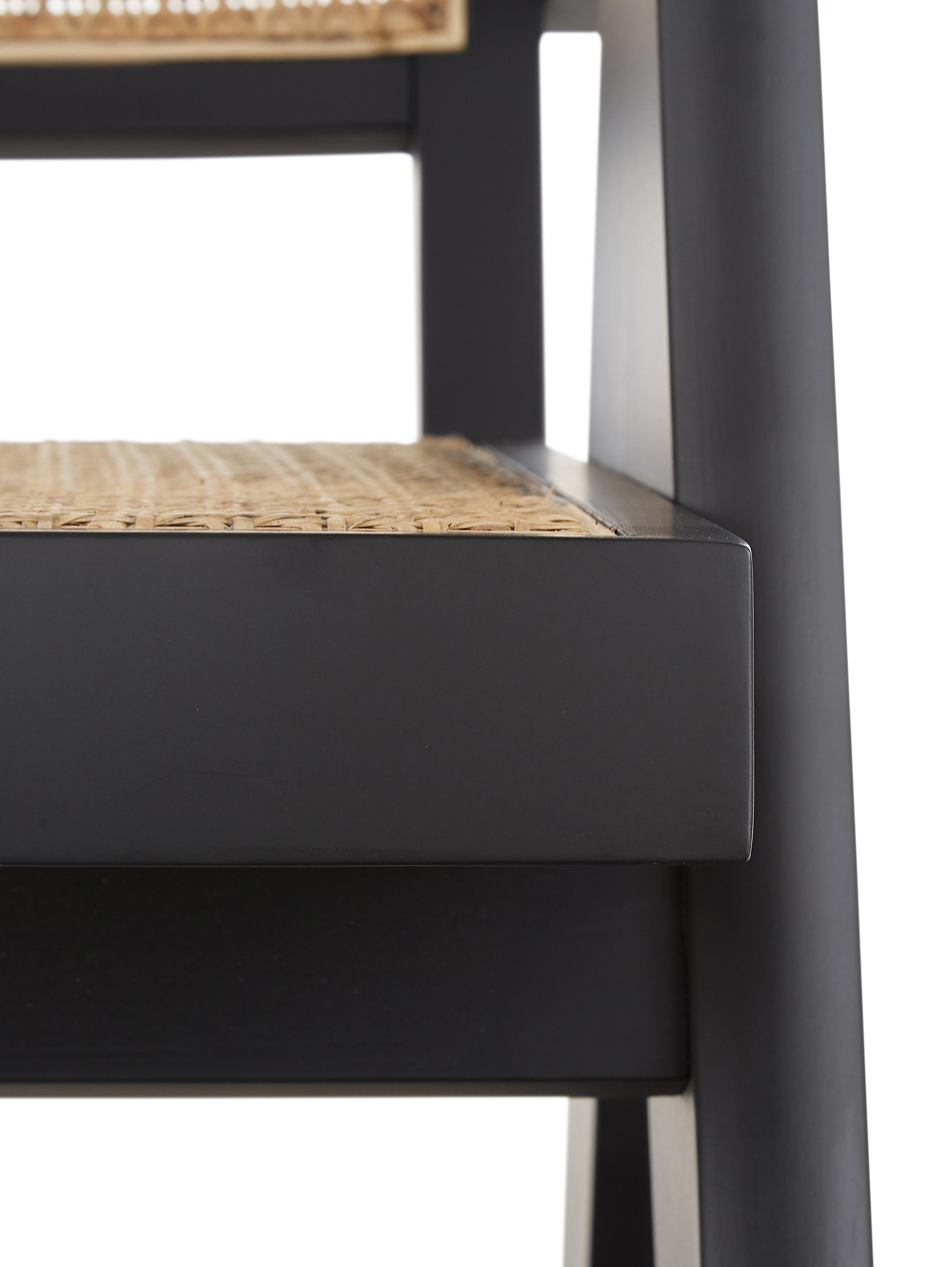 Krzesło z podłokietnikami z plecionką wiedeńską Sissi, Stelaż: lite drewno bukowe, lakie, Rattan, czarny, S 52 x G 58 cm