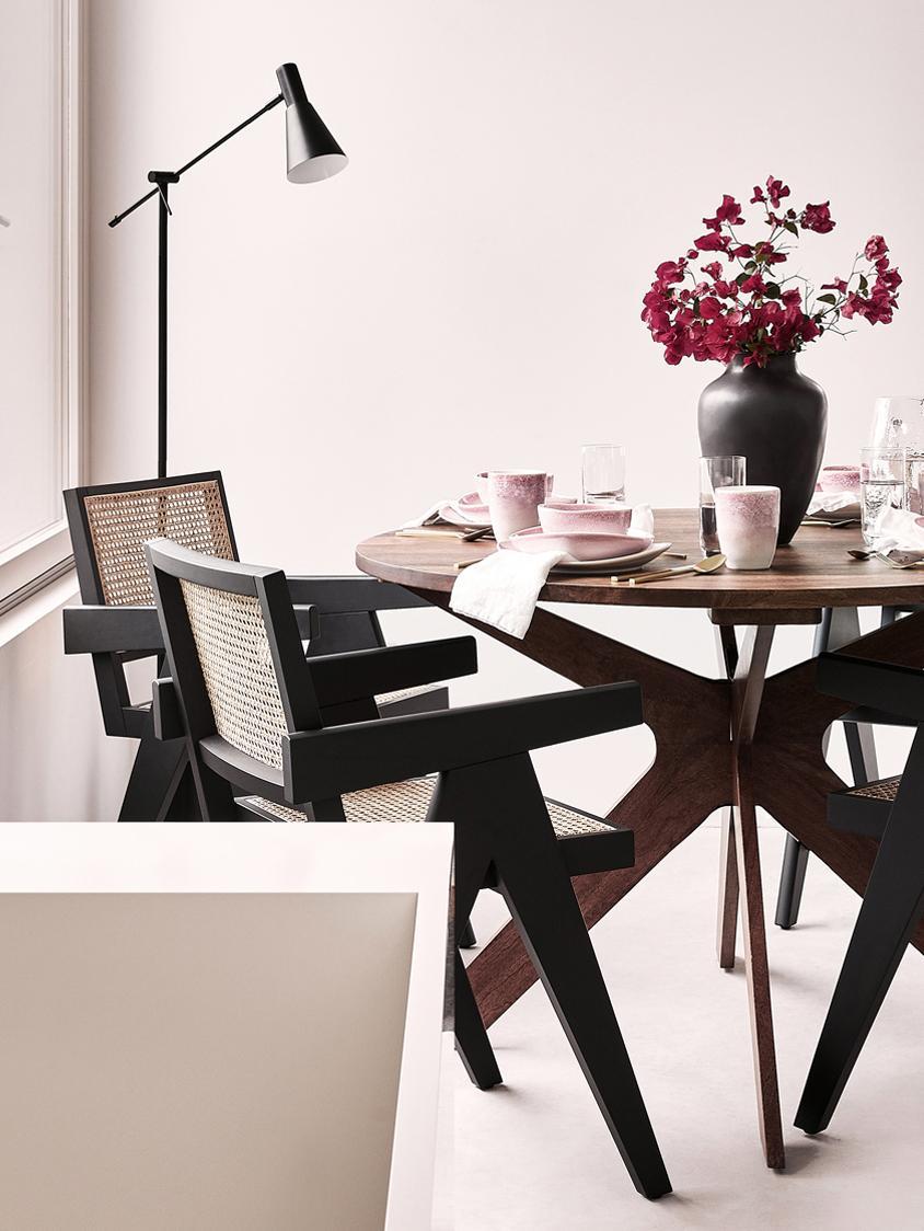 Armlehnstuhl Sissi mit Wiener Geflecht, Gestell: Massives Buchenholz, lack, Sitzfläche: Rattan, Rattan, Schwarz, B 52 x T 58 cm