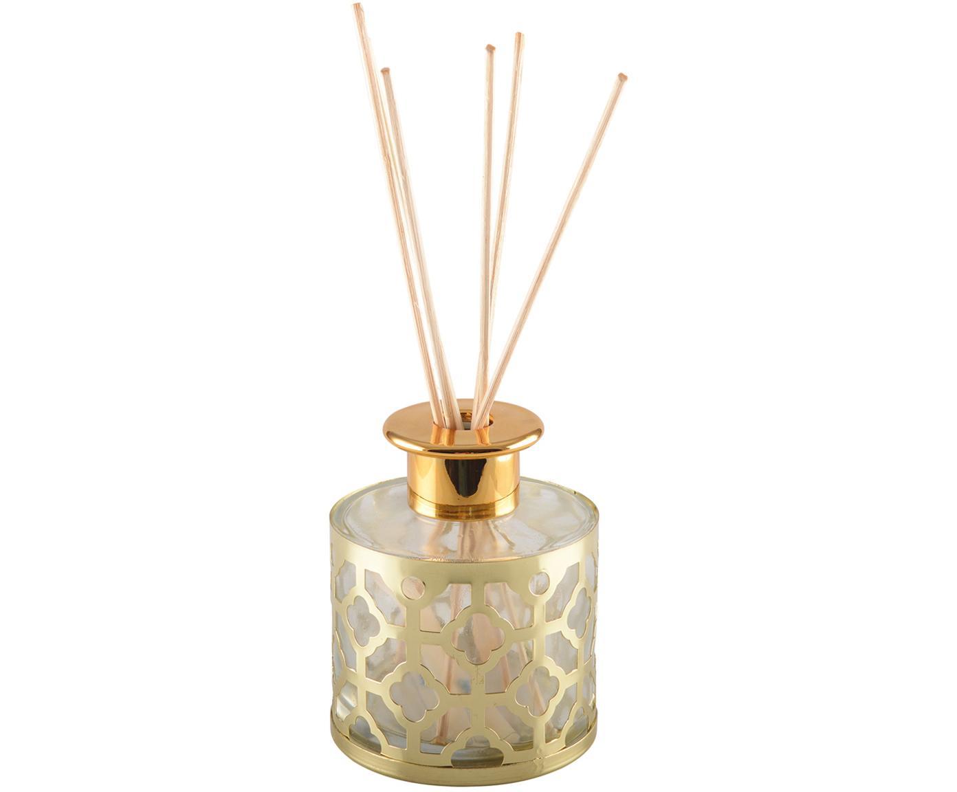 Diffuser Helion (Vanille), Metall, Glas, Duftöl, Stäbchen Holz, Goldfarben, Transparent, Ø 9 x H 24 cm
