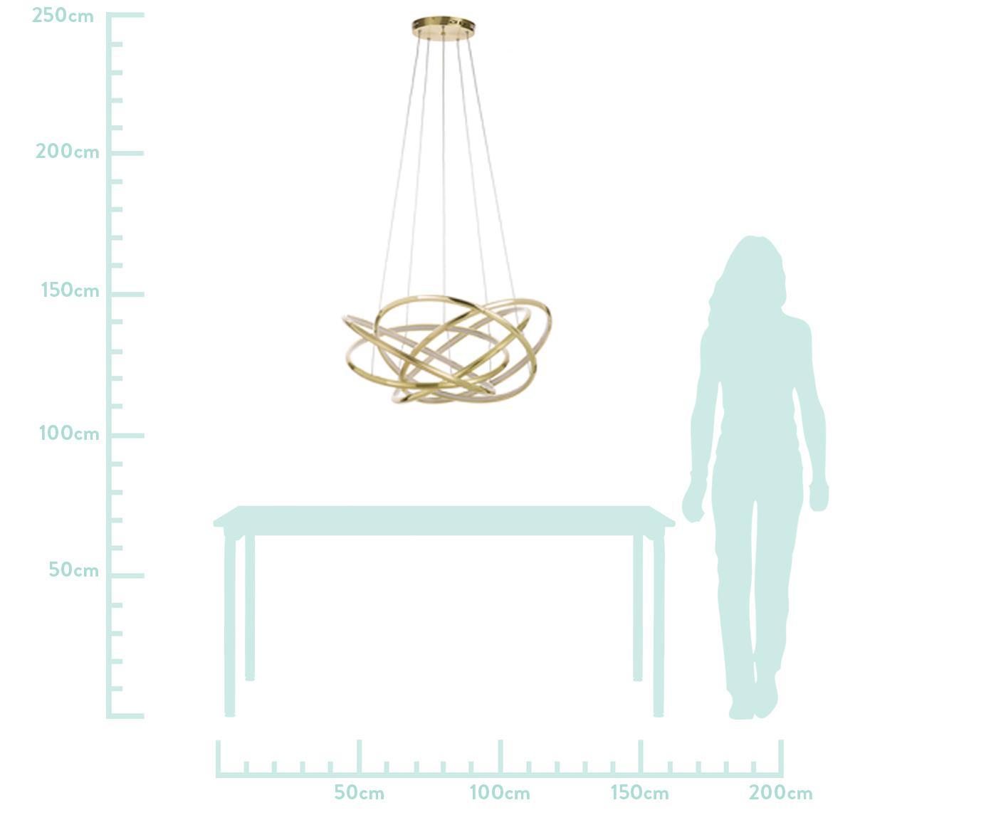 Moderne LED hanglamp Saturn, Lampenkap: gepoedercoat aluminium, Diffuser: acryl, Baldakijn: vermessingd staal, Goudkleurig, Ø 72 x H 75 cm