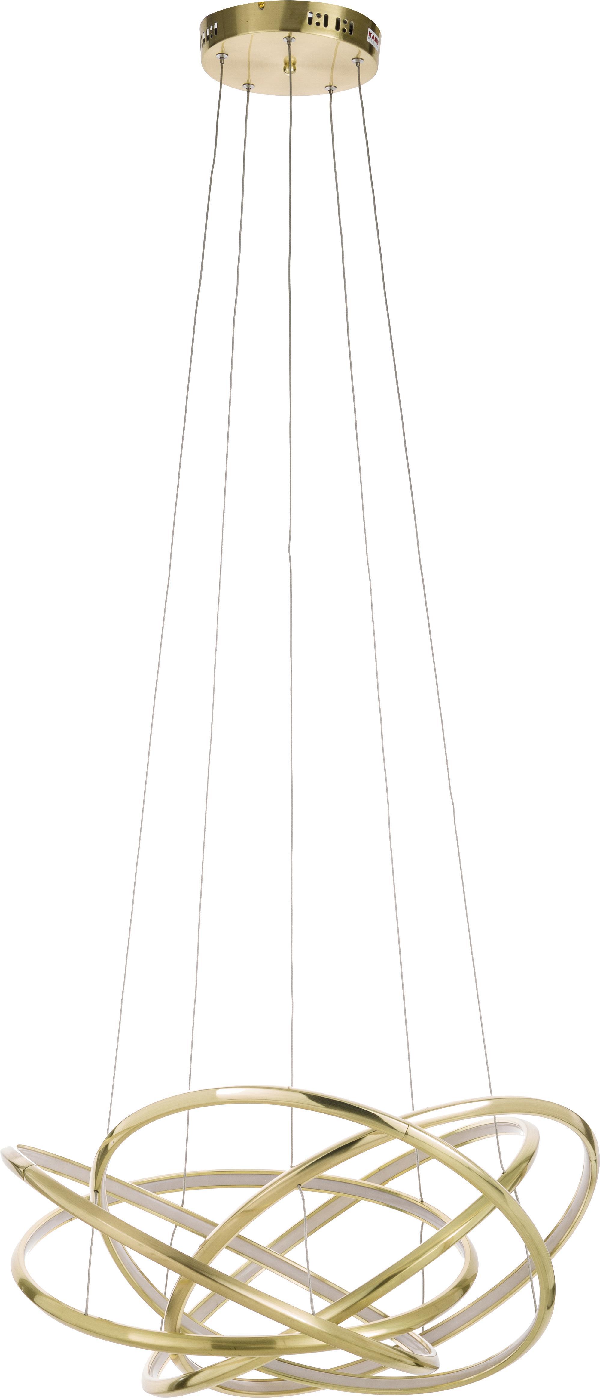 Moderne LED Pendelleuchte Saturn, Lampenschirm: Aluminium, pulverbeschich, Baldachin: Stahl, vermessingt, Gold, Ø 72 x H 75 cm