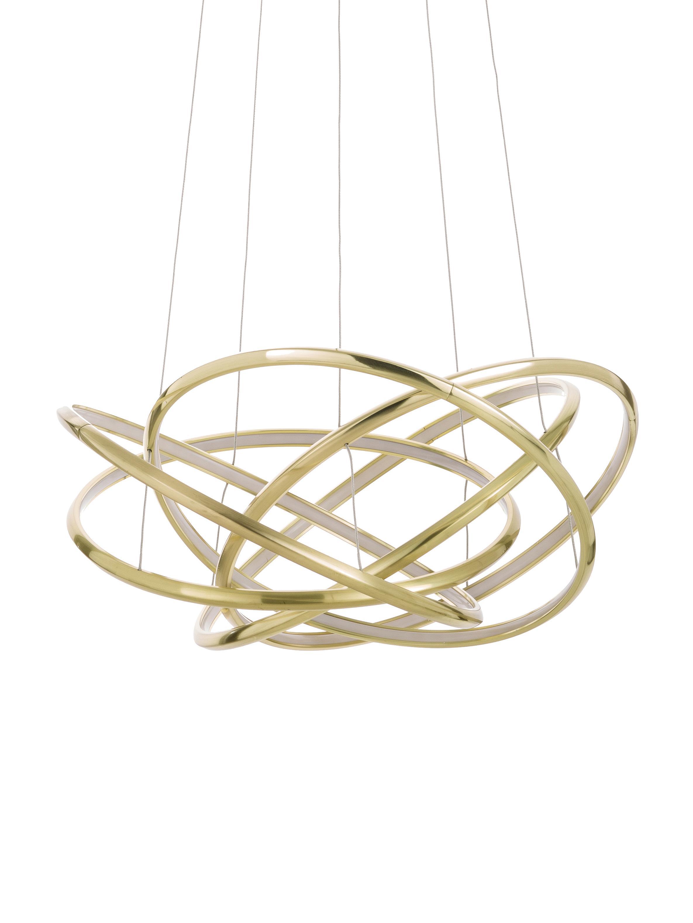 Lampada a sospensione a LED Saturn, Paralume: alluminio verniciato a po, Baldacchino: acciaio ottonato, Oro, Ø 72 x Alt. 75 cm