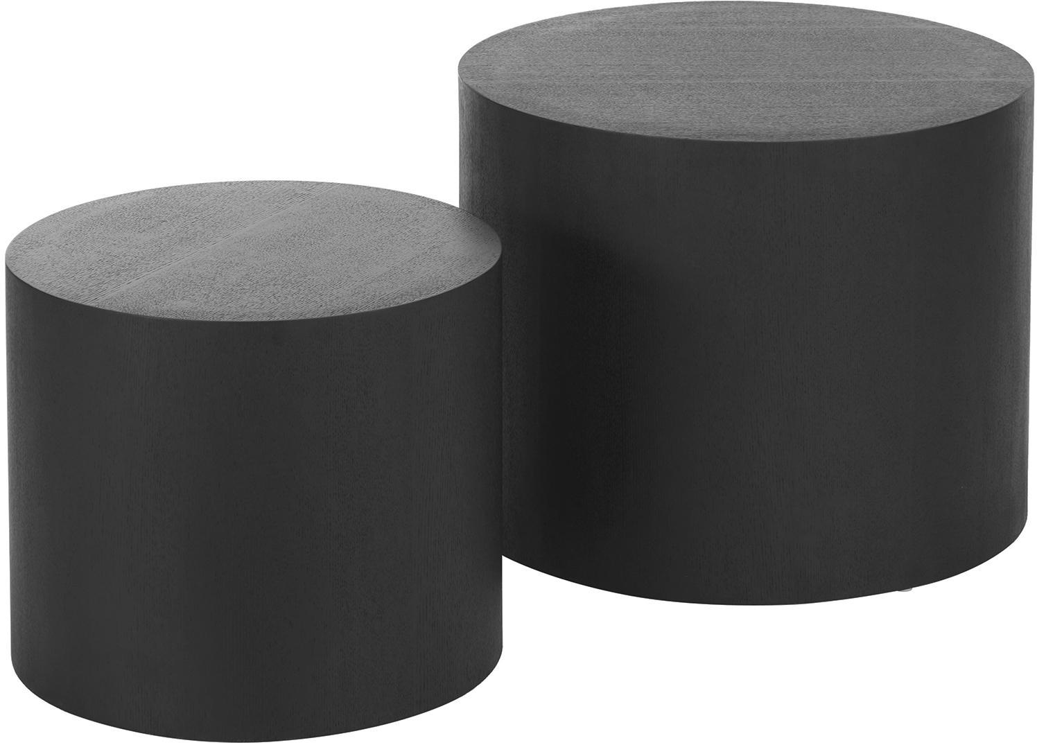 Set de mesas auxiliares Dan, 2uds., Tablero de fibras de densidad media(MDF) chapado en madera de fresno, Negro, Set de diferentes tamaños