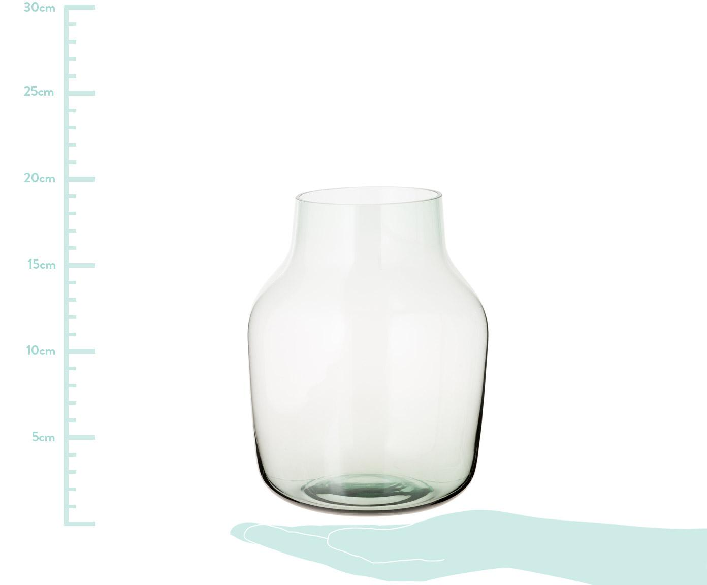 Mundgeblasene Vase Silent, Glas, Grün, H 19 cm