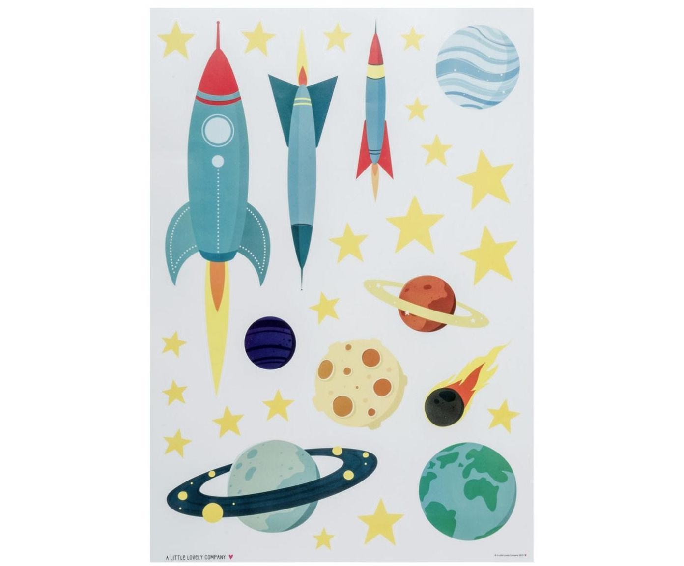Set adesivi murali Space, 29 pz. , Materiale sintetico, Multicolore, Larg. 35 x Alt. 50 cm