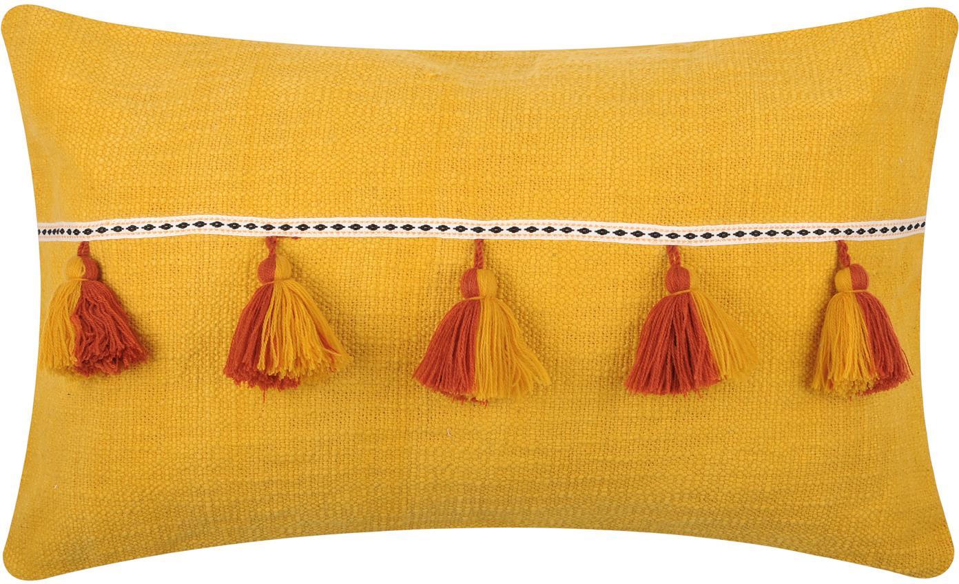 Kussen Majorque in geel met kwastjes, met vulling, 100% katoen, Geel, rood, 35 x 55 cm