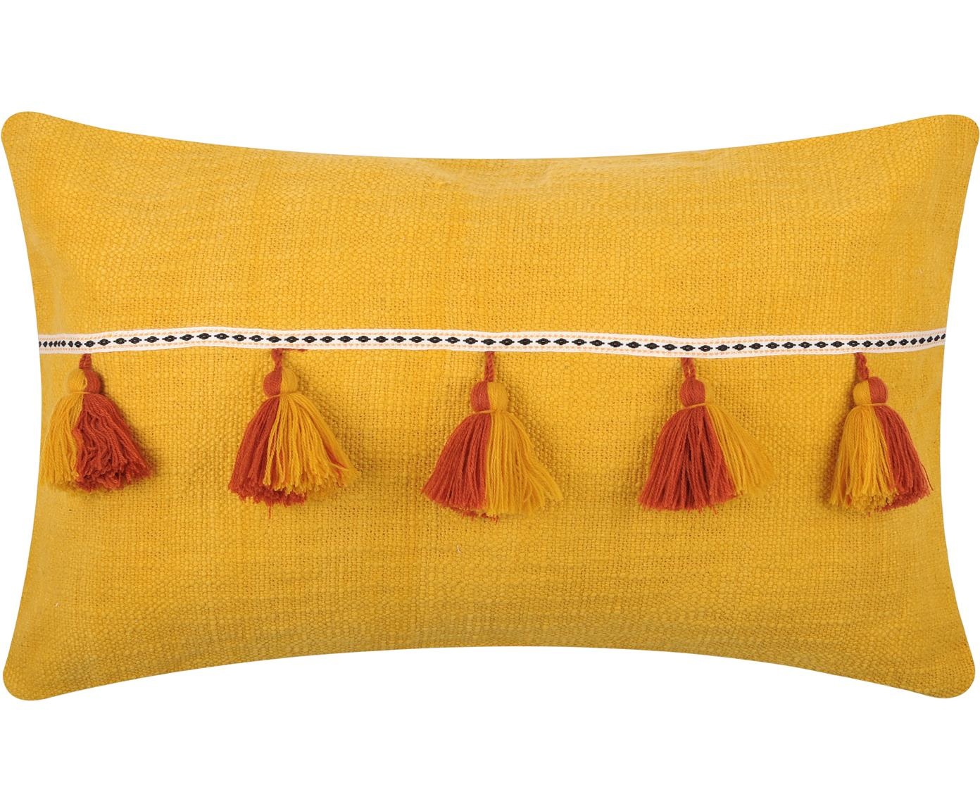 Kissen Majorque in Gelb mit Quasten, mit Inlett, 100% Baumwolle, Gelb, Rot, 35 x 55 cm