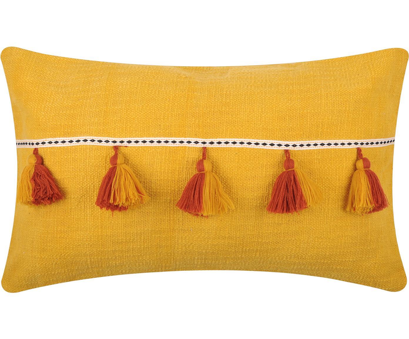Kussen Majorque, met vulling, Katoen, Geel, rood, 35 x 55 cm