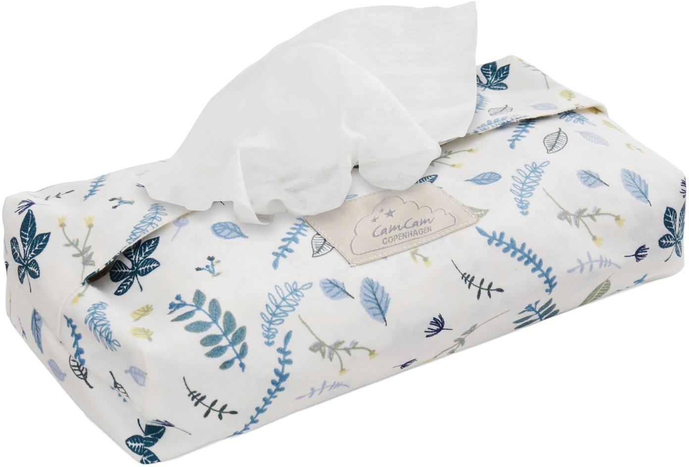 Porta salviettine in cotone organico Pressed Leaves, Cotone organico, certificato GOTS, Bianco, blu, grigio, giallo, Larg. 25 x Prof. 17 cm