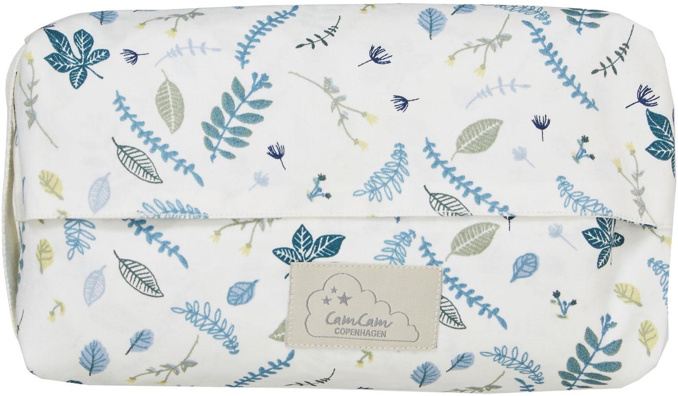 Feuchttücherbezug Pressed Leaves aus Bio-Baumwolle, Bio-Baumwolle, GOTS-zertifiziert, Weiß, Blau, Grau, Gelb, B 25 x T 17 cm