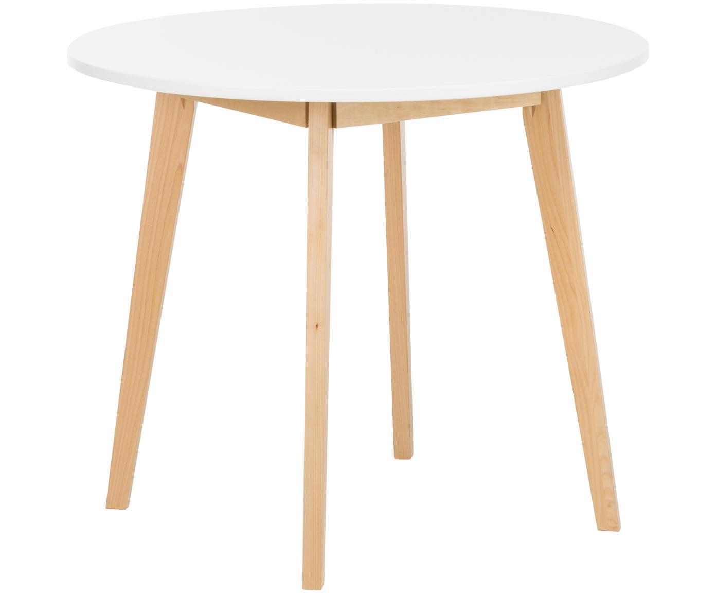 Mały stół do jadalni Raven, Nogi: drewno brzozowe, naturaln, Blat: płyta pilśniowa średniej , Biały, drewno brzozowe, naturalny, Ø 90 cm