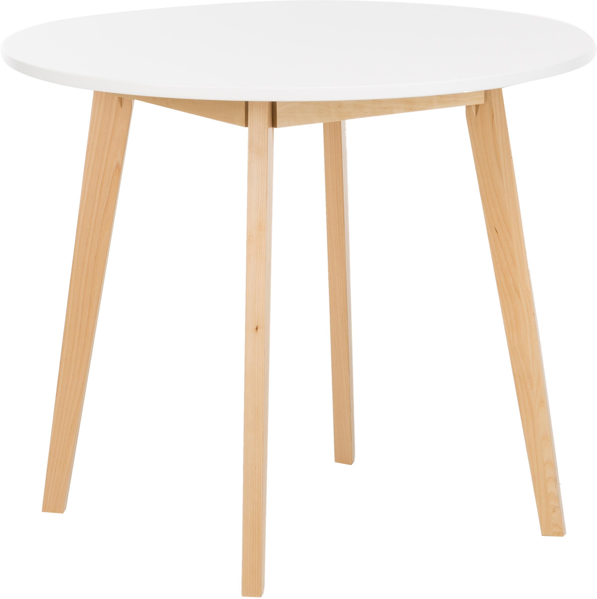Tavolo rotondo in legno di betulla Raven, Gambe: legno di betulla, finitur, Piano d'appoggio: pannello di fibra a media, Bianco, legno di betulla, finitura naturale, Ø 90 cm