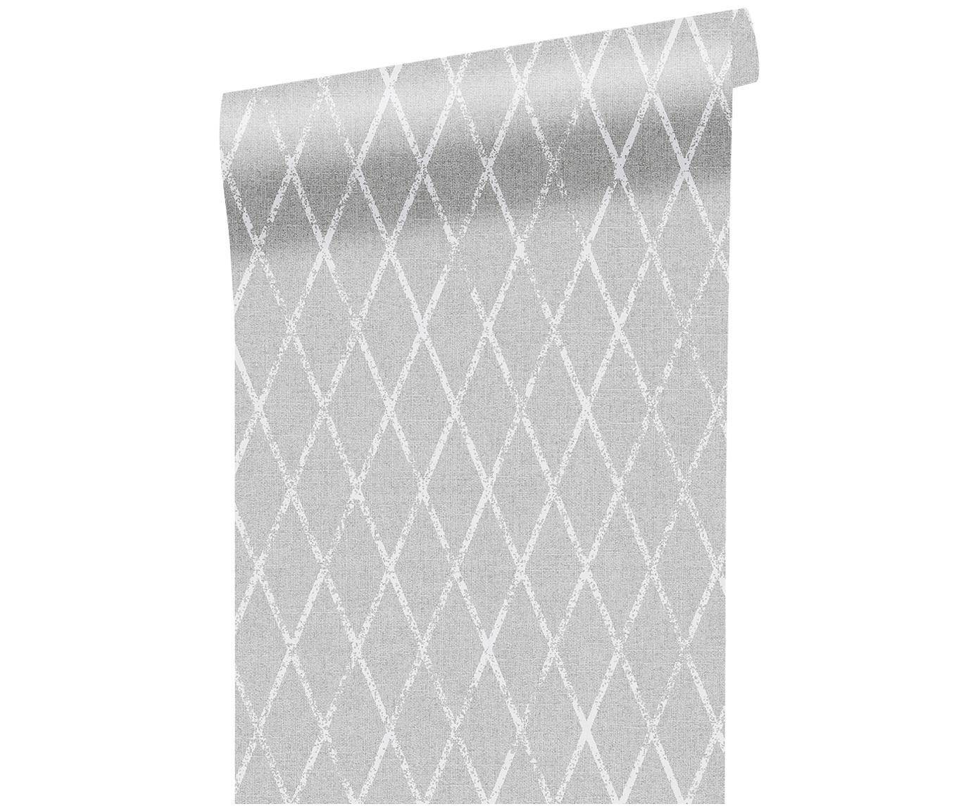 Carta da parati Wieber, Vello, Grigio chiaro, bianco, P 53 x L 1005 cm