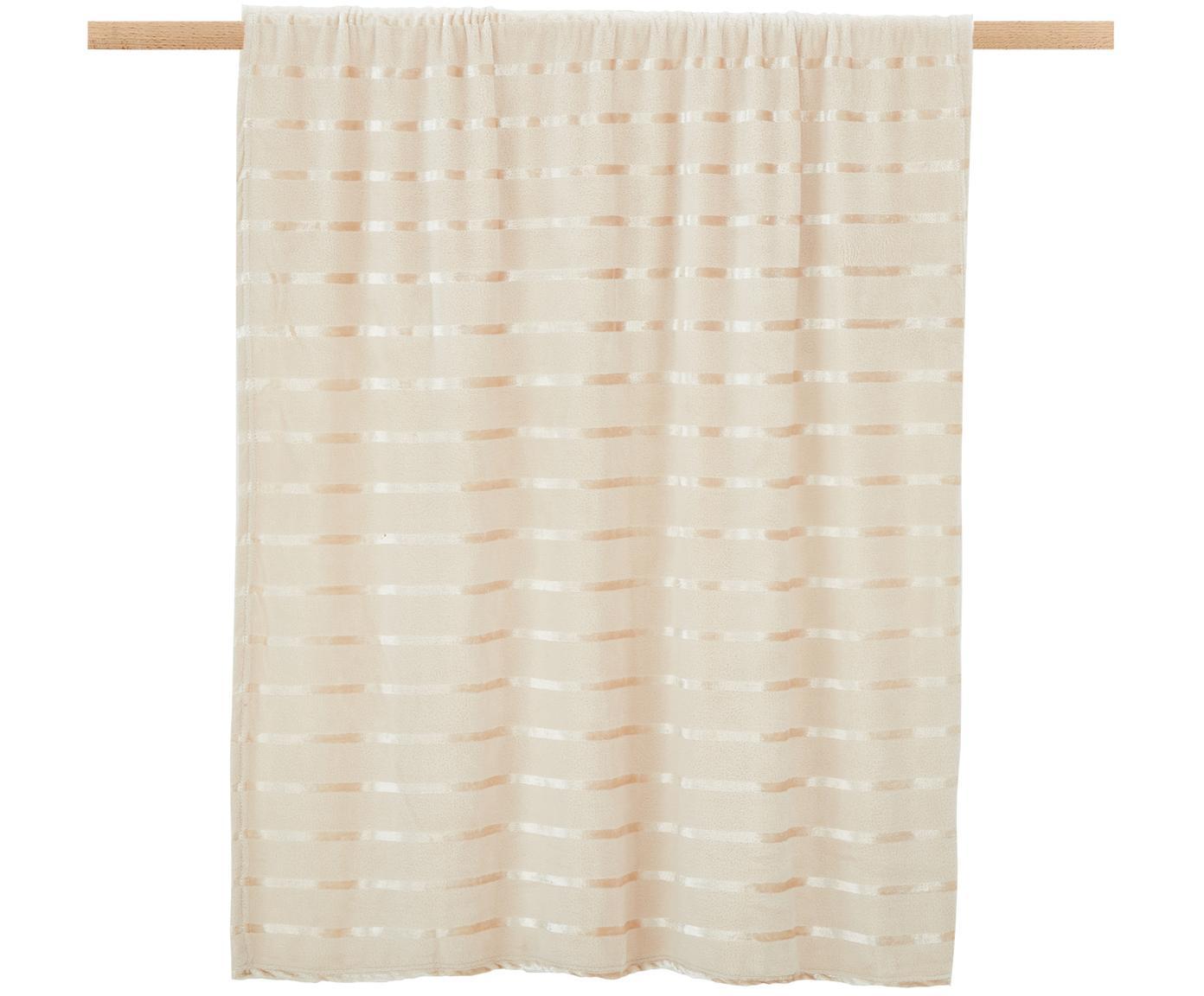 Weiches Fleece-Plaid Clyde mit schimmernden Streifen, 100% Polyester, Beige, Gebrochenes Weiß, 130 x 160 cm