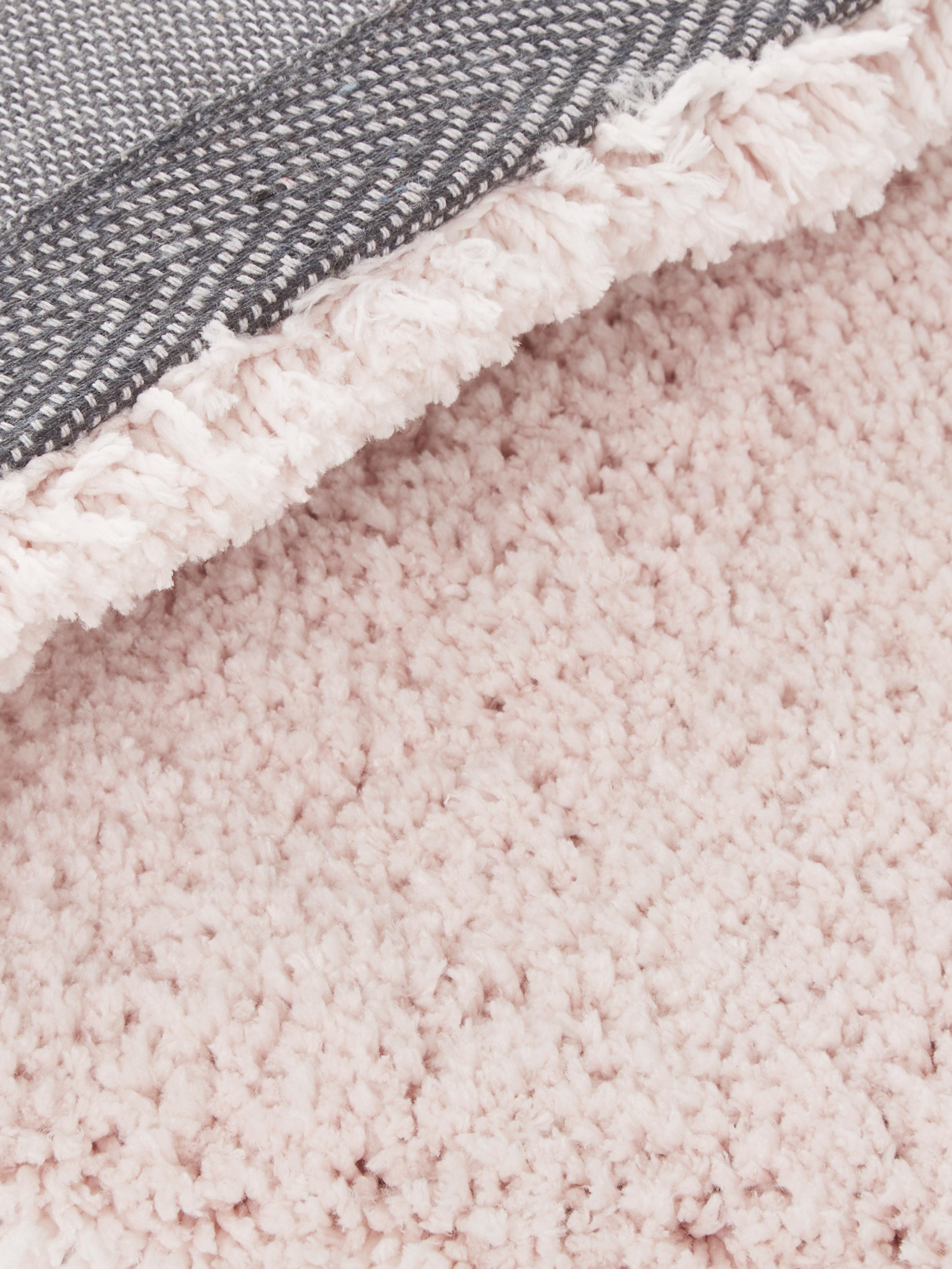 Flauschiger Hochflor-Teppich Leighton in Rosa, Flor: 100% Polyester (Mikrofase, Rosé, B 80 x L 150 cm (Größe XS)
