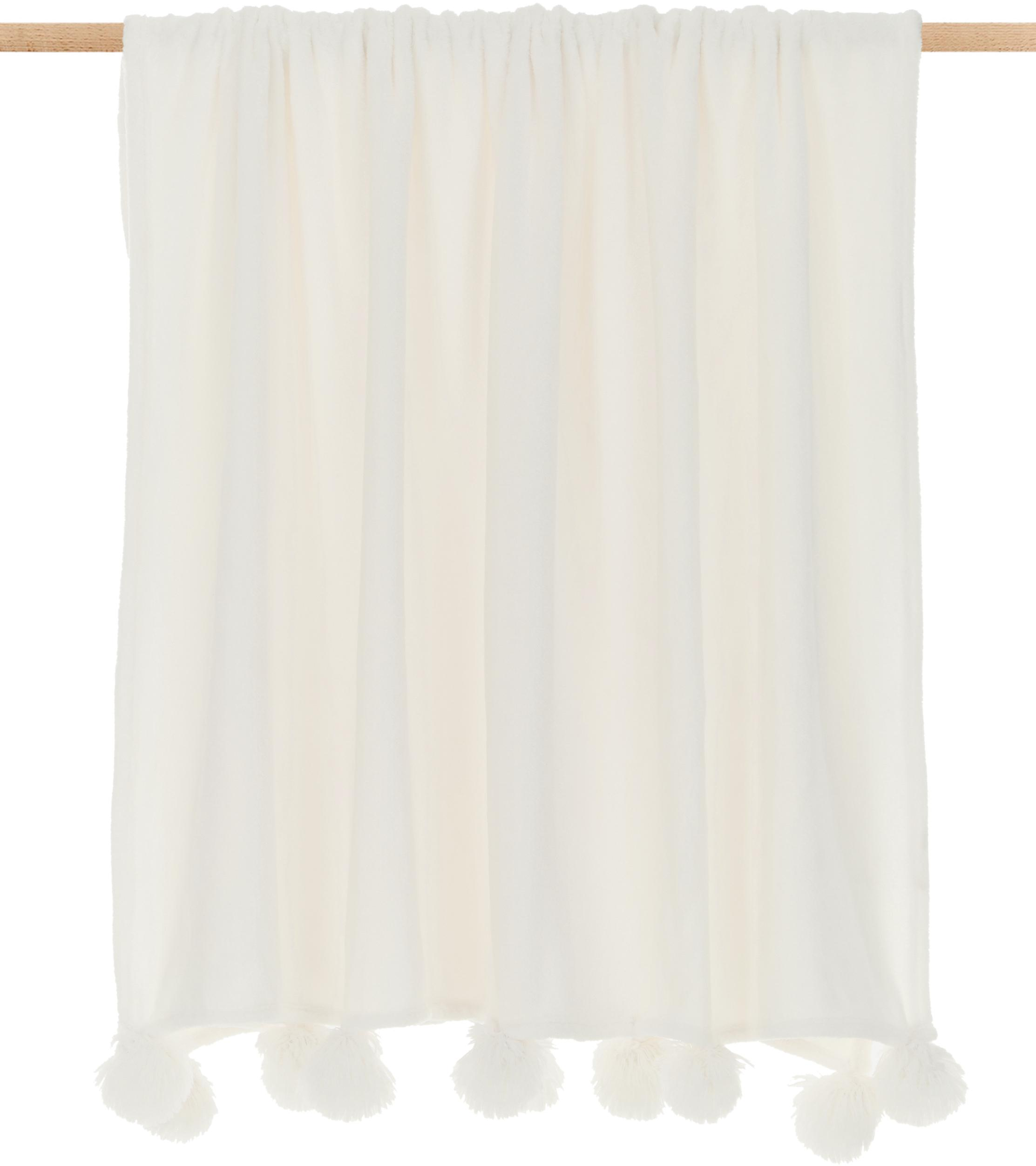 Manta de tela polar Bomla, Poliéster, Crema, An 130 x L 170 cm