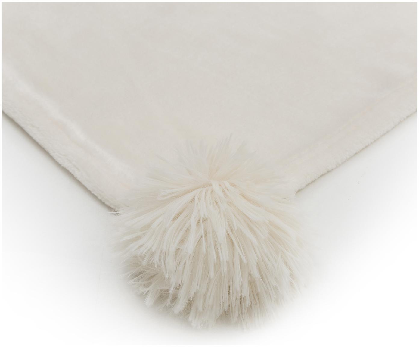Fleece plaid Bomla, Polyester, Crèmekleurig, 130 x 170 cm