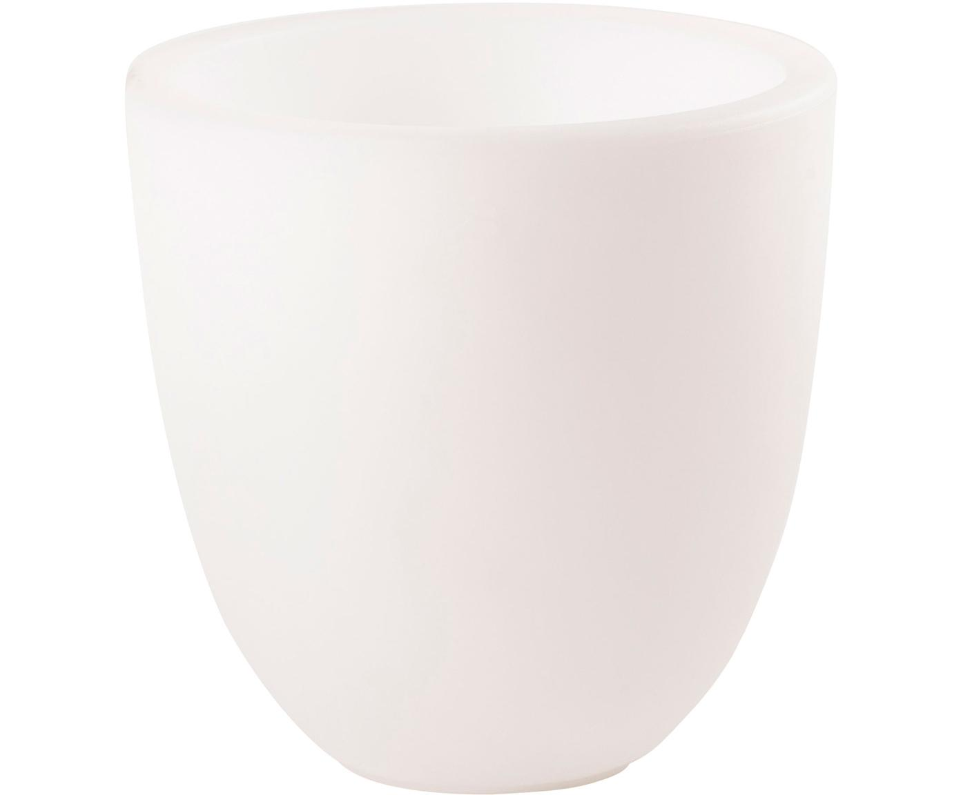 Mobiele outdoor lamp Shining Curvy Pot, Kunststof, Wit, Ø 39 x H 39 cm