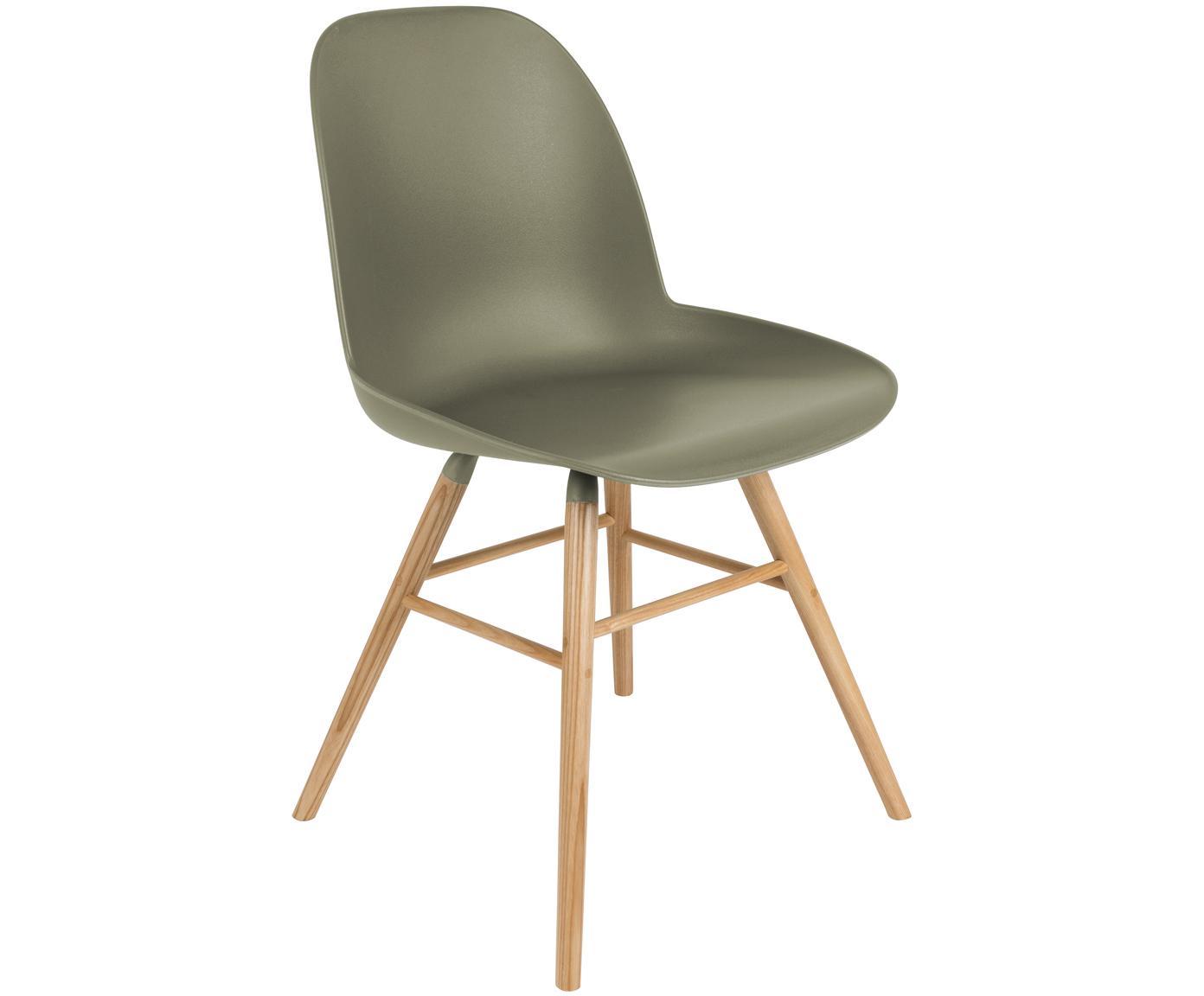 Kunststoffstuhl Albert Kuip mit Holzbeinen, Sitzschale: Polypropylen, Beine: Eschenholz, Grün, B 49 x T 55 cm