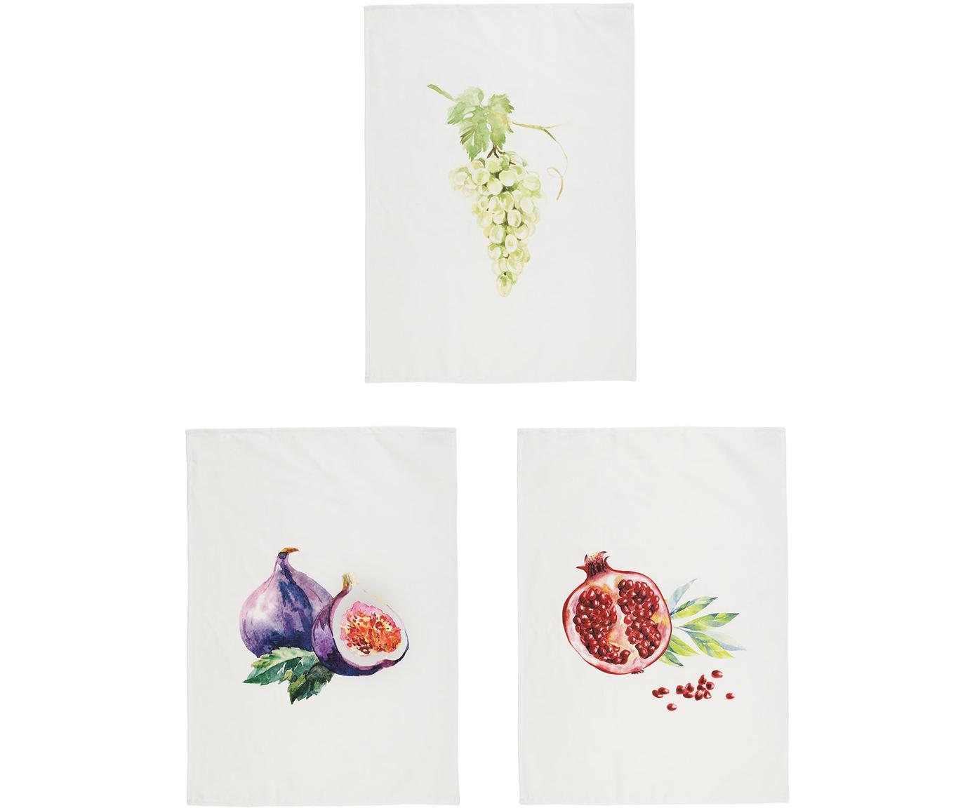 Paños de cocina Fruits, 3uds., 100%algodón, Blanco, multicolor, An 50 x L 70 cm