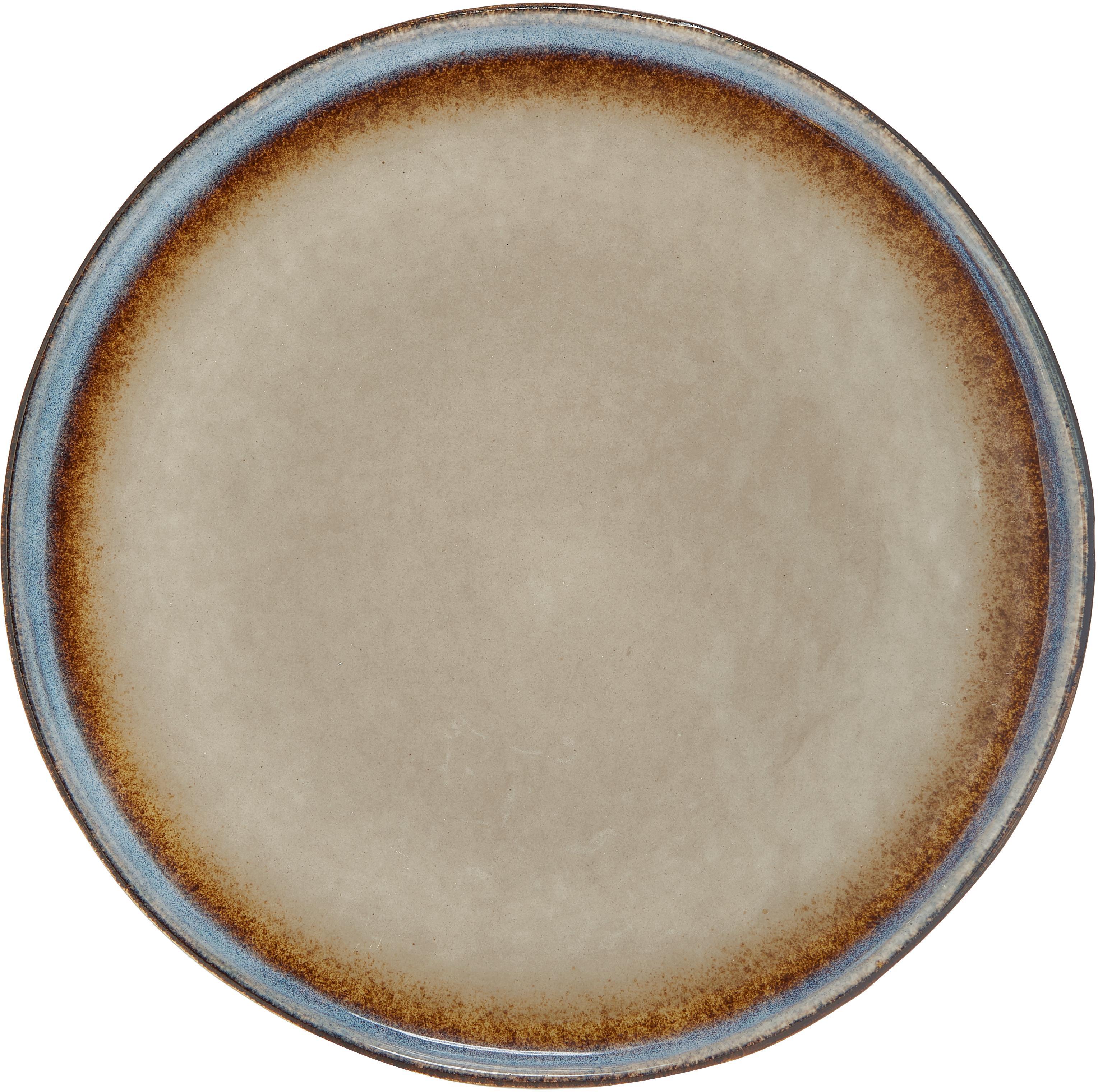 Handgemachte Speiseteller Nomimono, 2 Stück, Steingut, Grau, Greige, Ø 27 cm