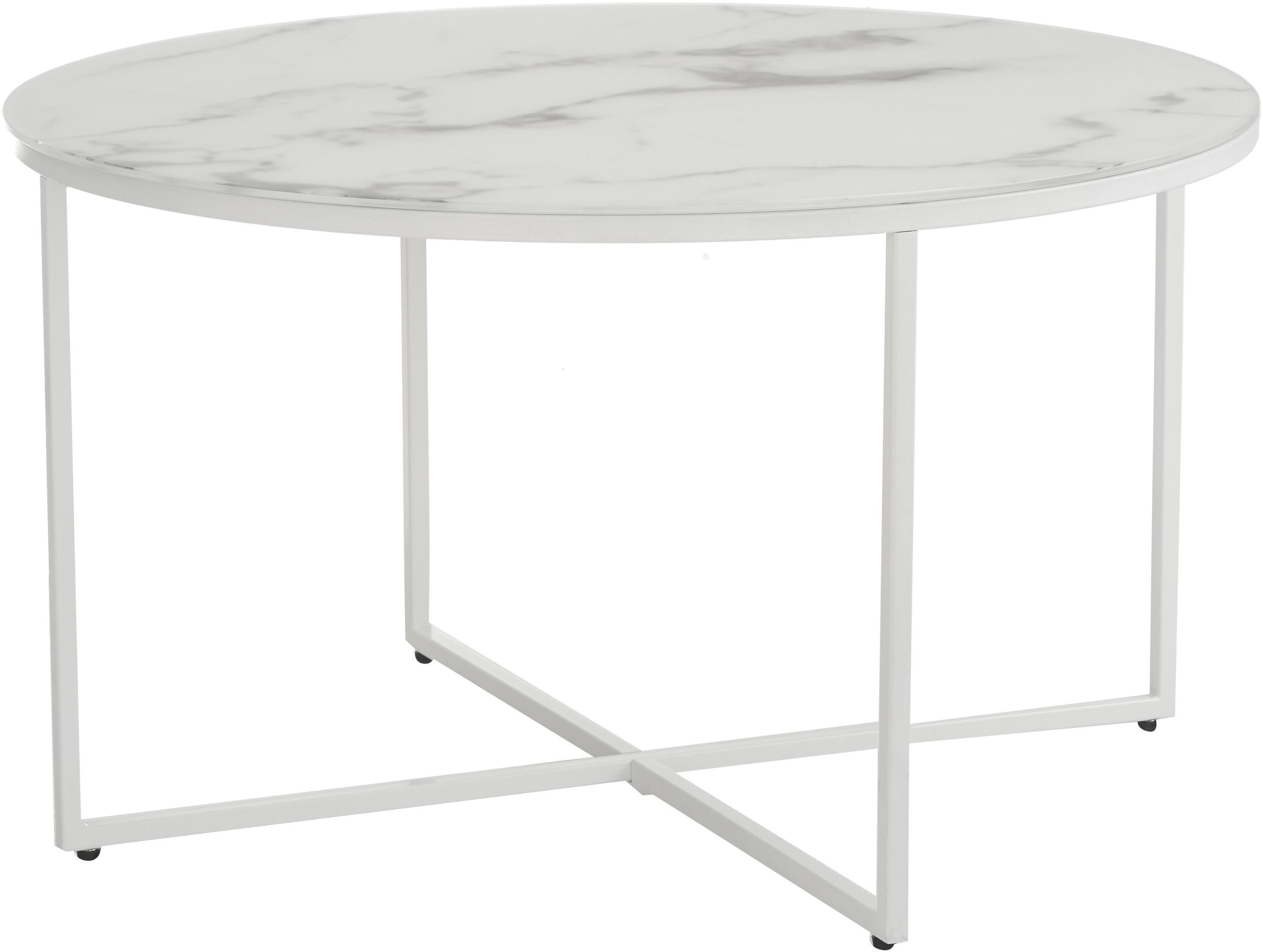 Tavolino da salotto con piano in vetro Antigua, Piano d'appoggio: vetro stampato opaco, Struttura: acciaio verniciato a polv, Bianco-grigio marmorizzato, bianco, Ø 80 x Alt. 45 cm