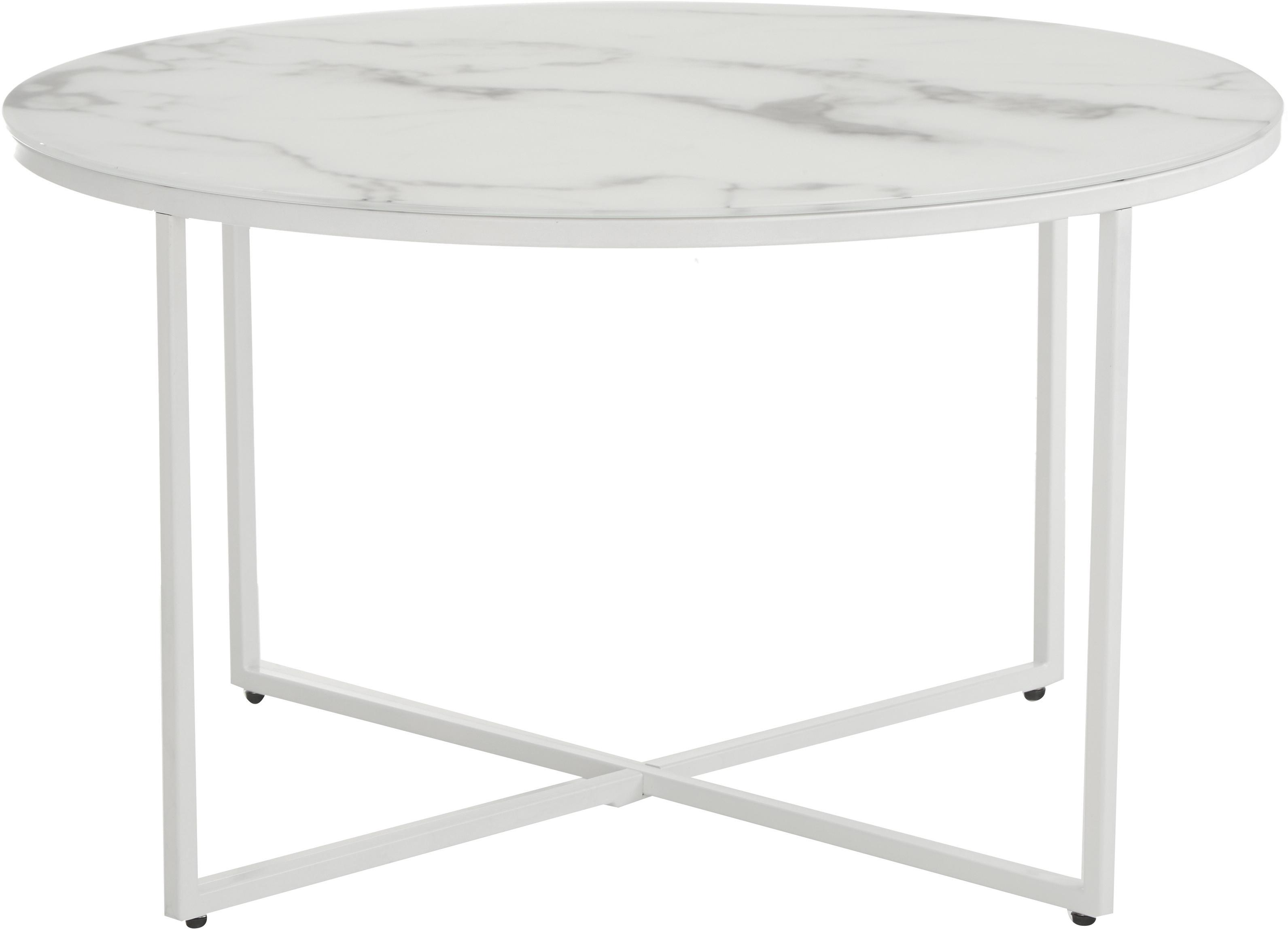 Stolik kawowy ze szklanym blatem Antigua, Blat: szkło, matowy nadruk, Stelaż: stal malowana proszkowo, Białoszary marmurowy, biały, Ø 80 x W 45 cm