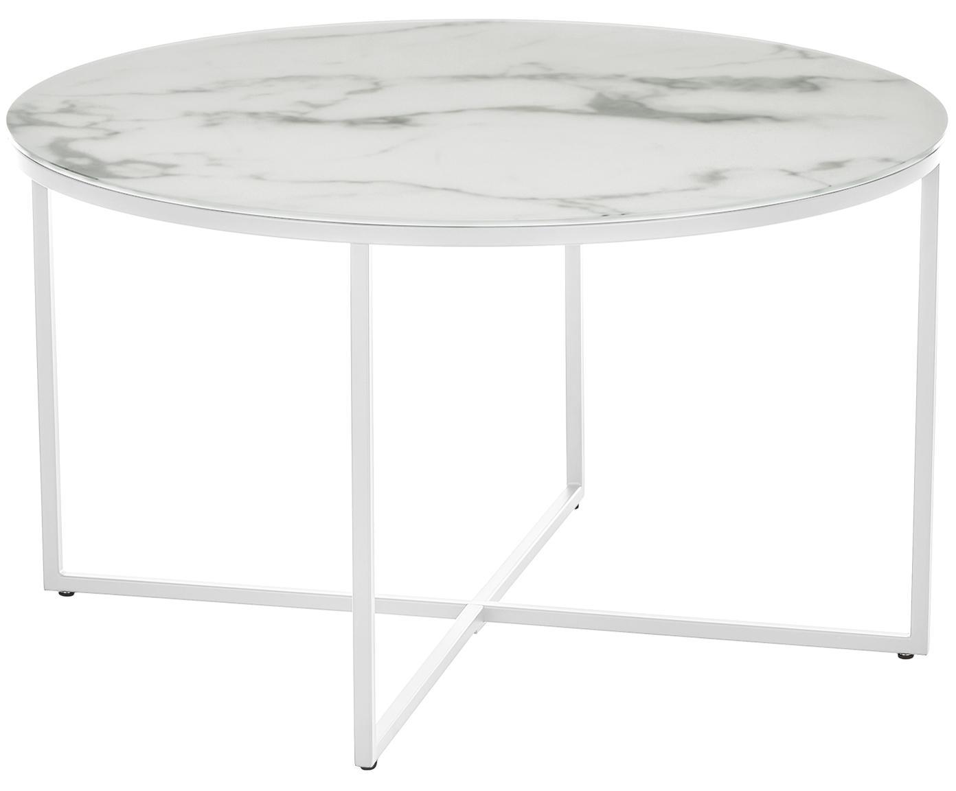 Couchtisch Antigua mit marmorierter Glasplatte, Tischplatte: Glas, matt bedruckt, Gestell: Stahl, pulverbeschichtet, Weiss-grau marmoriert, Weiss, Ø 80 x H 45 cm