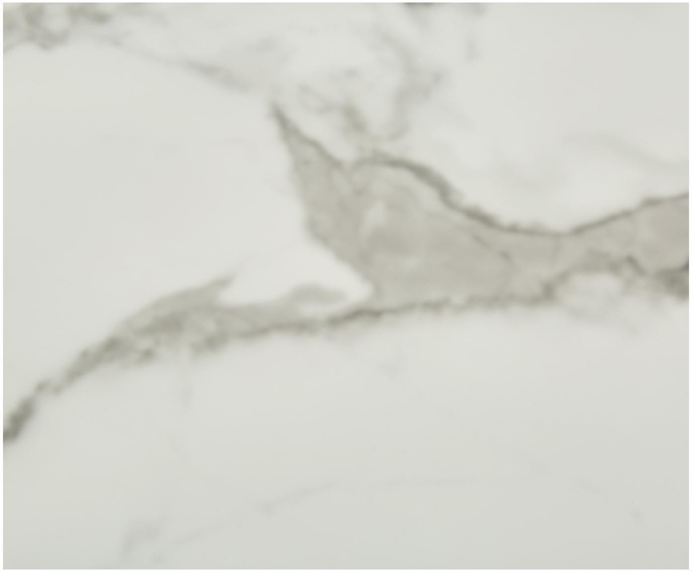 Mesa de centro Antigua, tablero de cristal en aspecto mármol, Tablero: vidrio estampado con aspe, Estructura: acero con pintura en polv, Mármol blanco grisaceo, blanco, Ø 80 x Al 45 cm