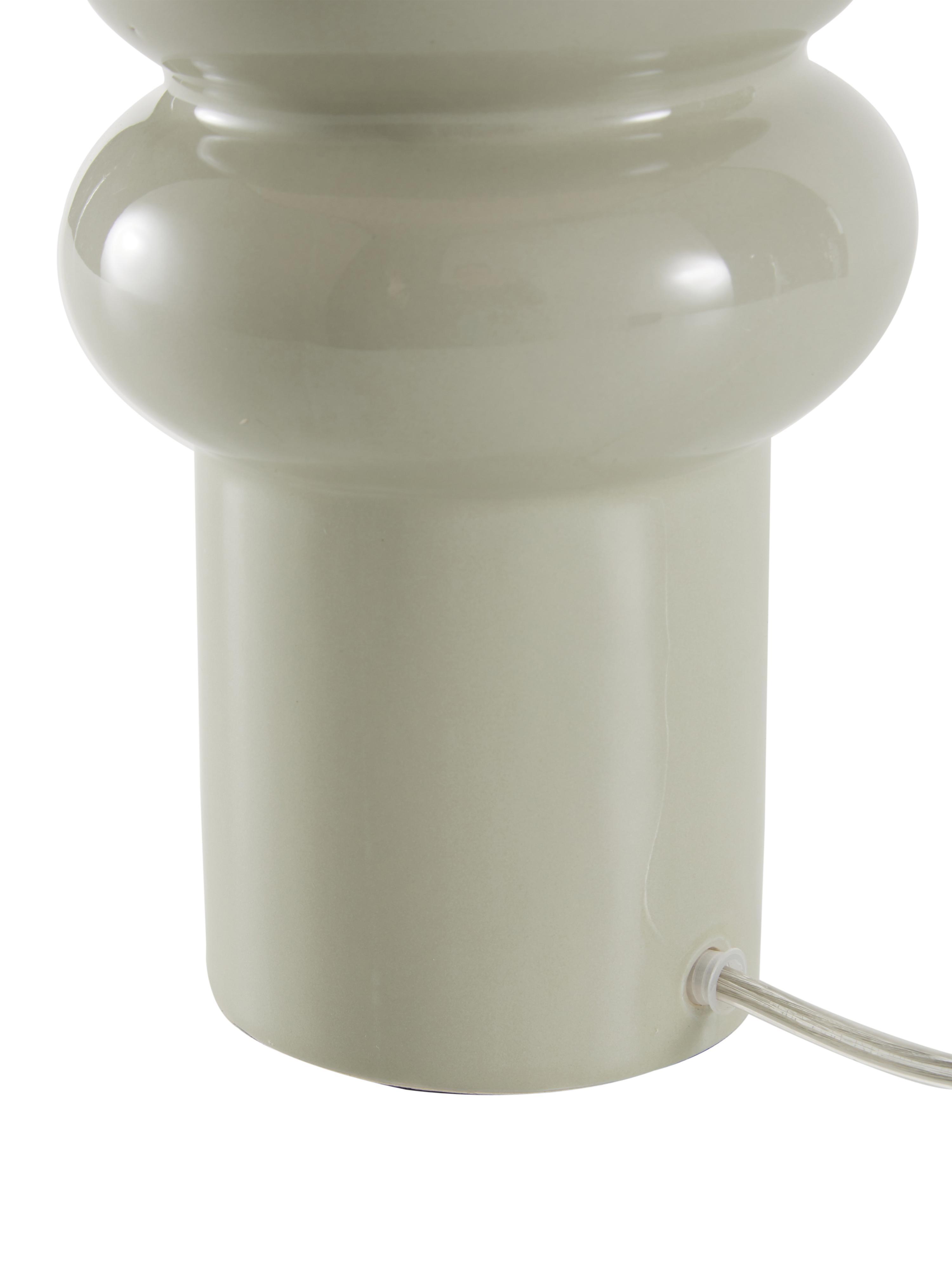 Keramik-Tischlampe Christine, Lampenschirm: Textil, Lampenfuß: Keramik, Dekor: Metall, vermessingt, Beige, Grau, Ø 28 x H 53 cm