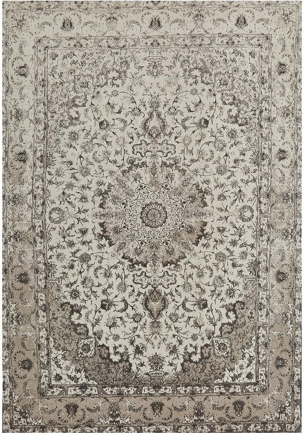 Vintage Chenilleteppich Sofia in Beige-Grau, handgewebt, Flor: 95% Baumwolle, 5% Polyest, Beige, Grau, B 160 x L 230 cm (Grösse M)