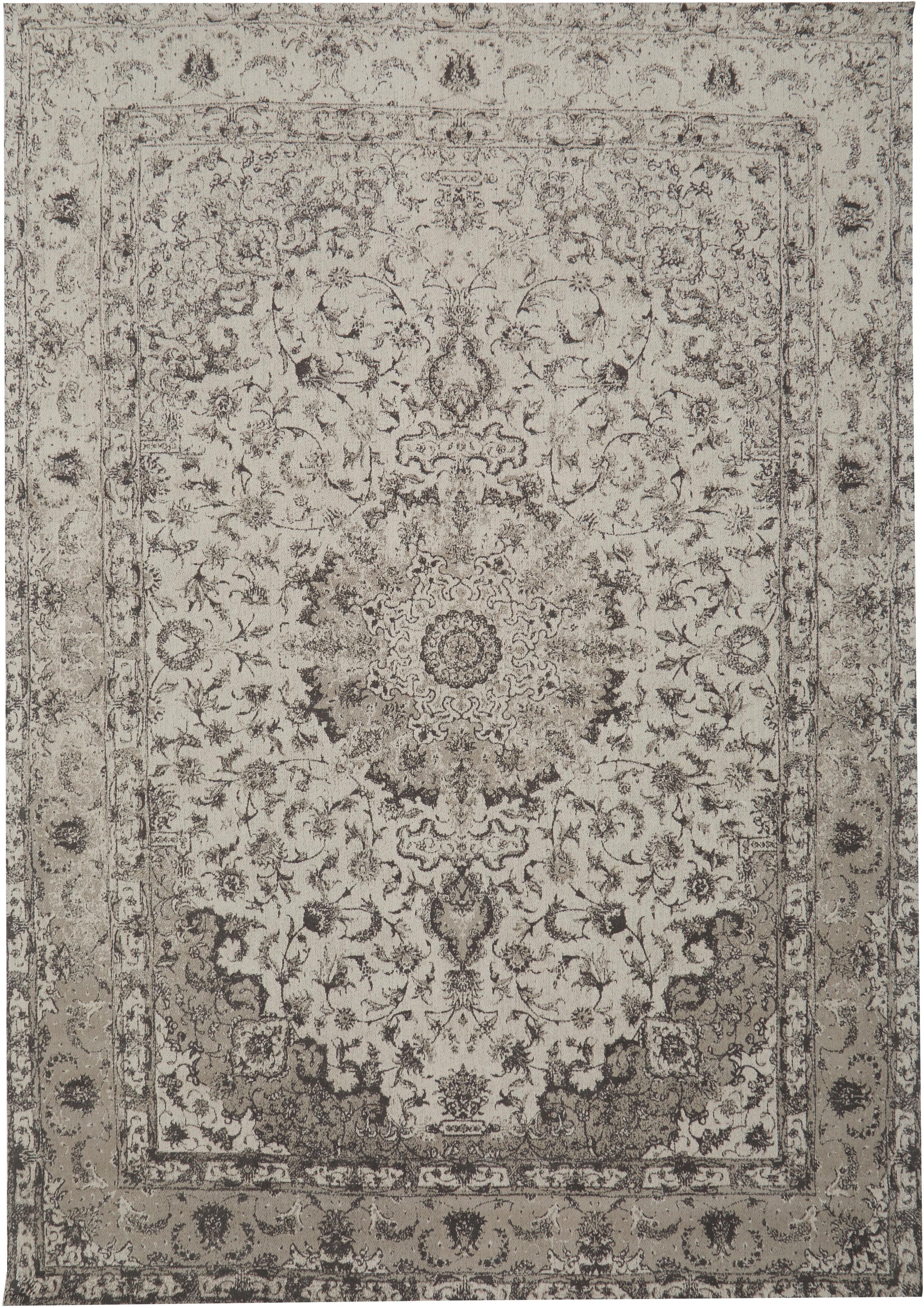 Handgeweven chenille vloerkleed Sofia, Bovenzijde: 95% katoen, 5% polyester, Onderzijde: 100% katoen, Beige, grijs, 160 x 230 cm