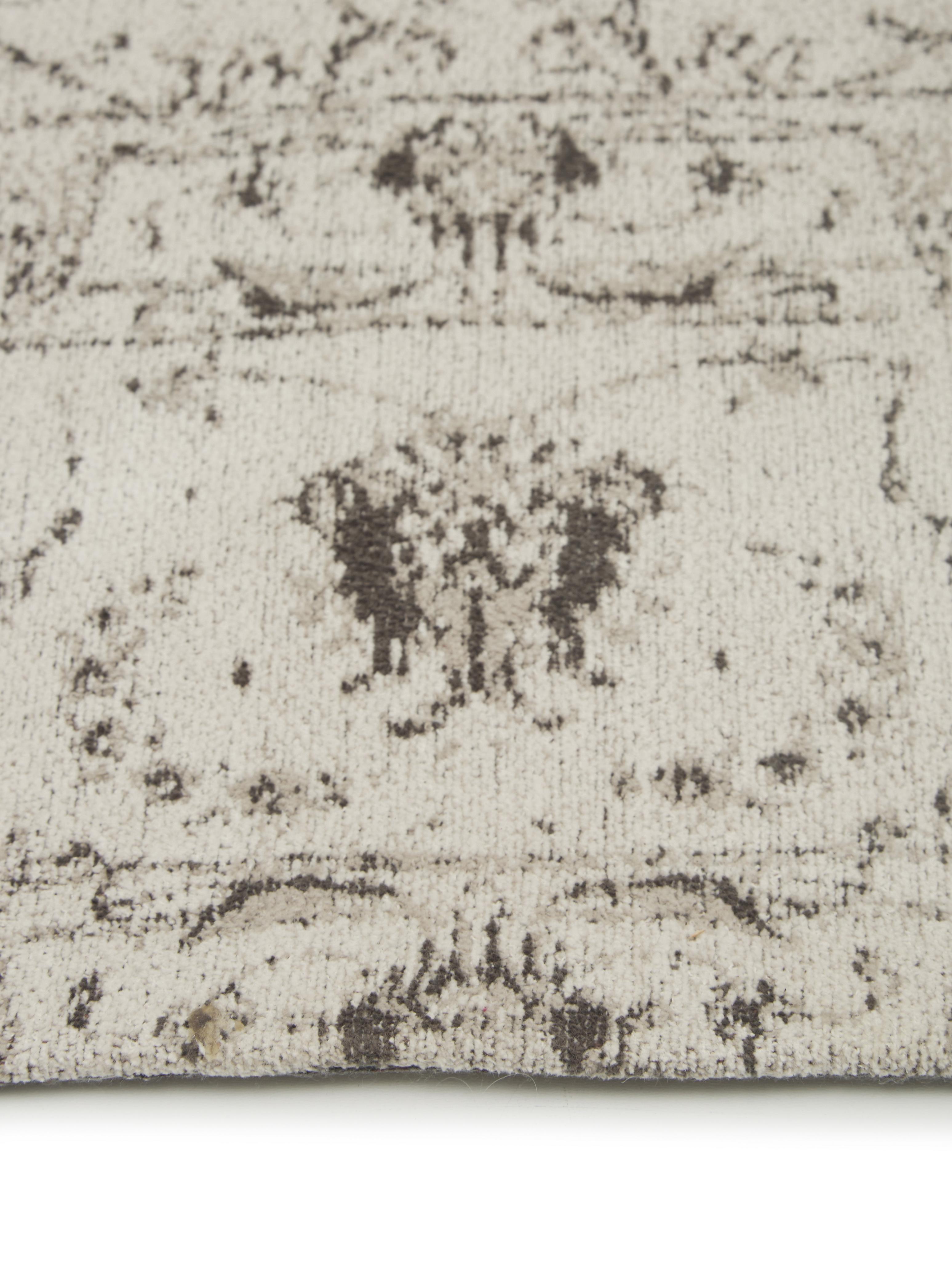Vintage Chenilleteppich Sofia in Beige-Grau, handgewebt, Flor: 95% Baumwolle, 5% Polyest, Beige, Grau, B 200 x L 300 cm (Größe L)