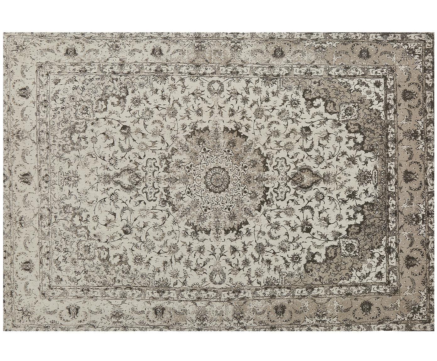 Alfombra artesanal de chenilla Sofia, estilo vintage, Parte superior: 95%algodón, 5%poliéster, Reverso: 100%algodón, Beige, gris, An 160 x L 230 cm (Tamaño M)