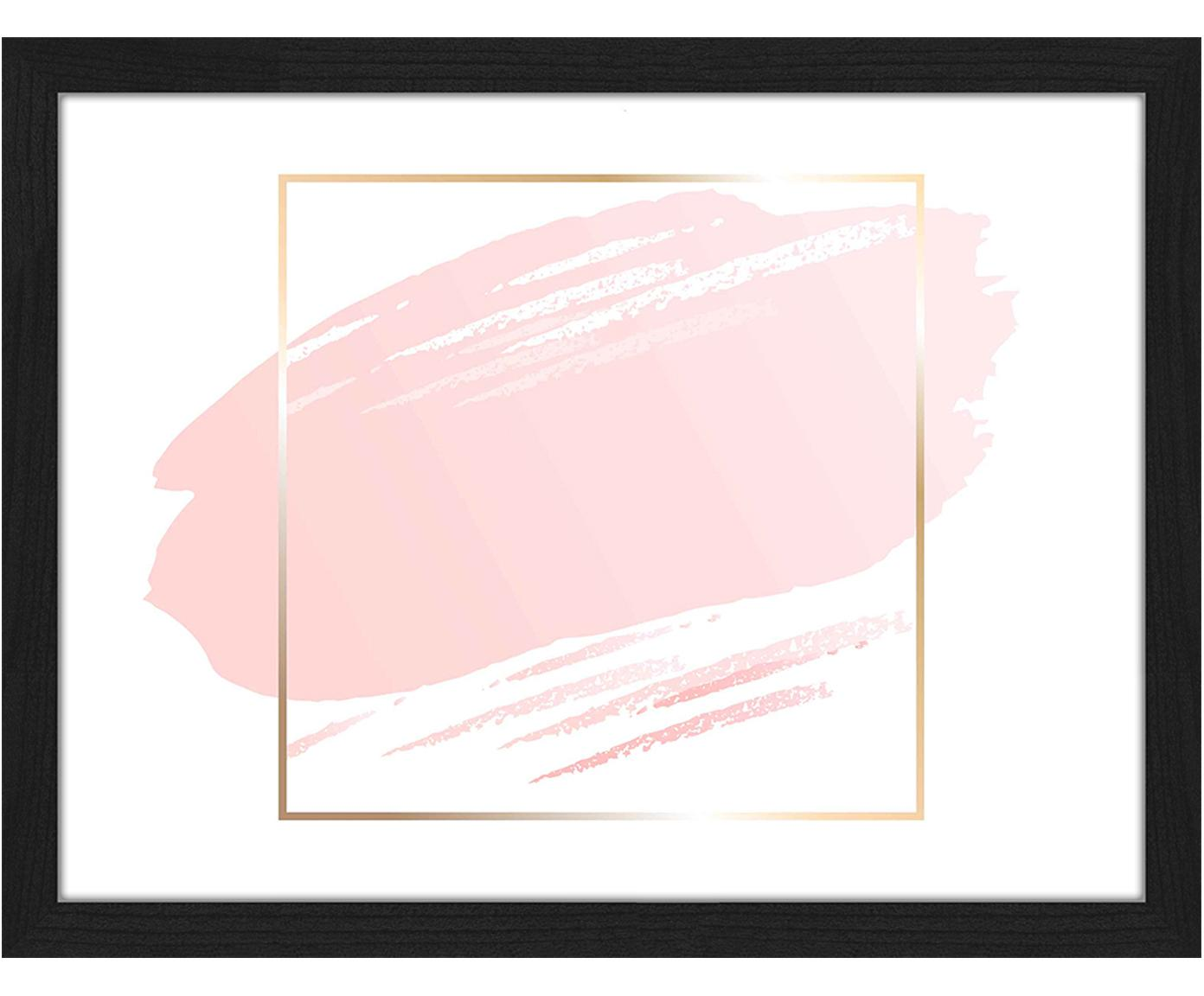 Ingelijste digitale print Pink Brush, Afbeelding: digitale print op papier,, Lijst: gelakt beukenhout, Wit, roze, goudkleurig, 33 x 43 cm