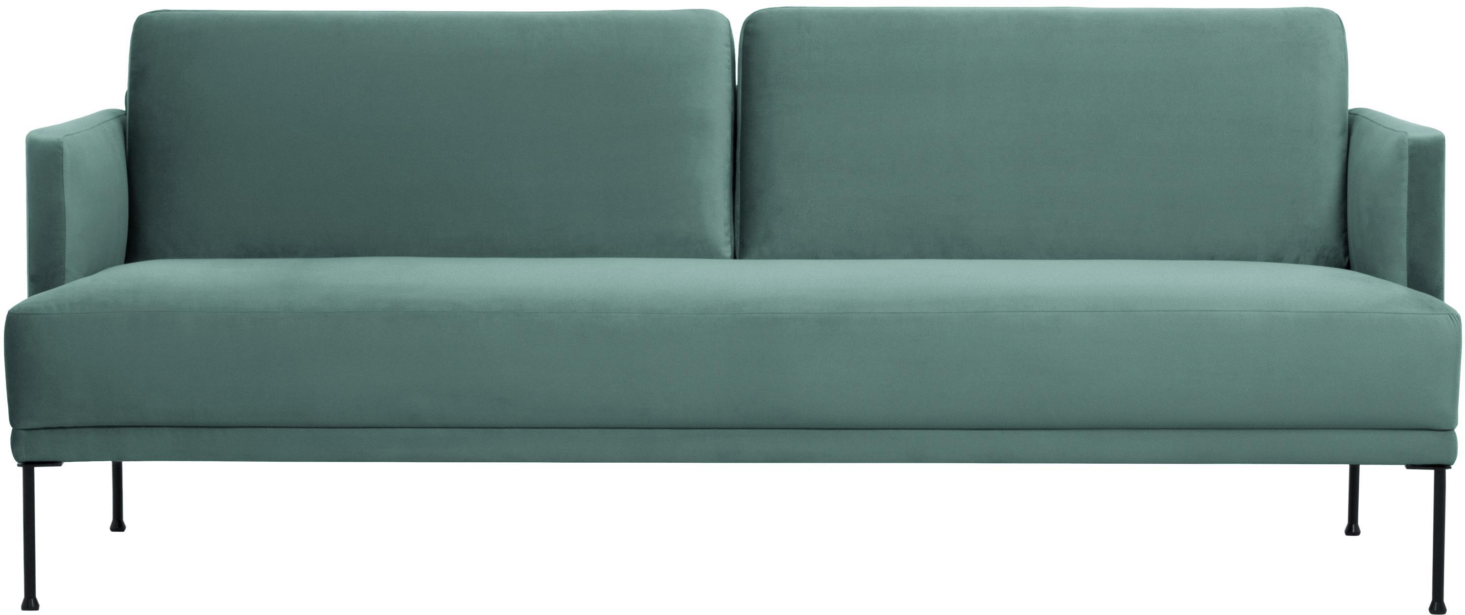 Samt-Sofa Fluente (3-Sitzer), Bezug: Samt (Hochwertiger Polyes, Gestell: Massives Kiefernholz, Füße: Metall, pulverbeschichtet, Samt Hellgrün, B 196 x T 85 cm