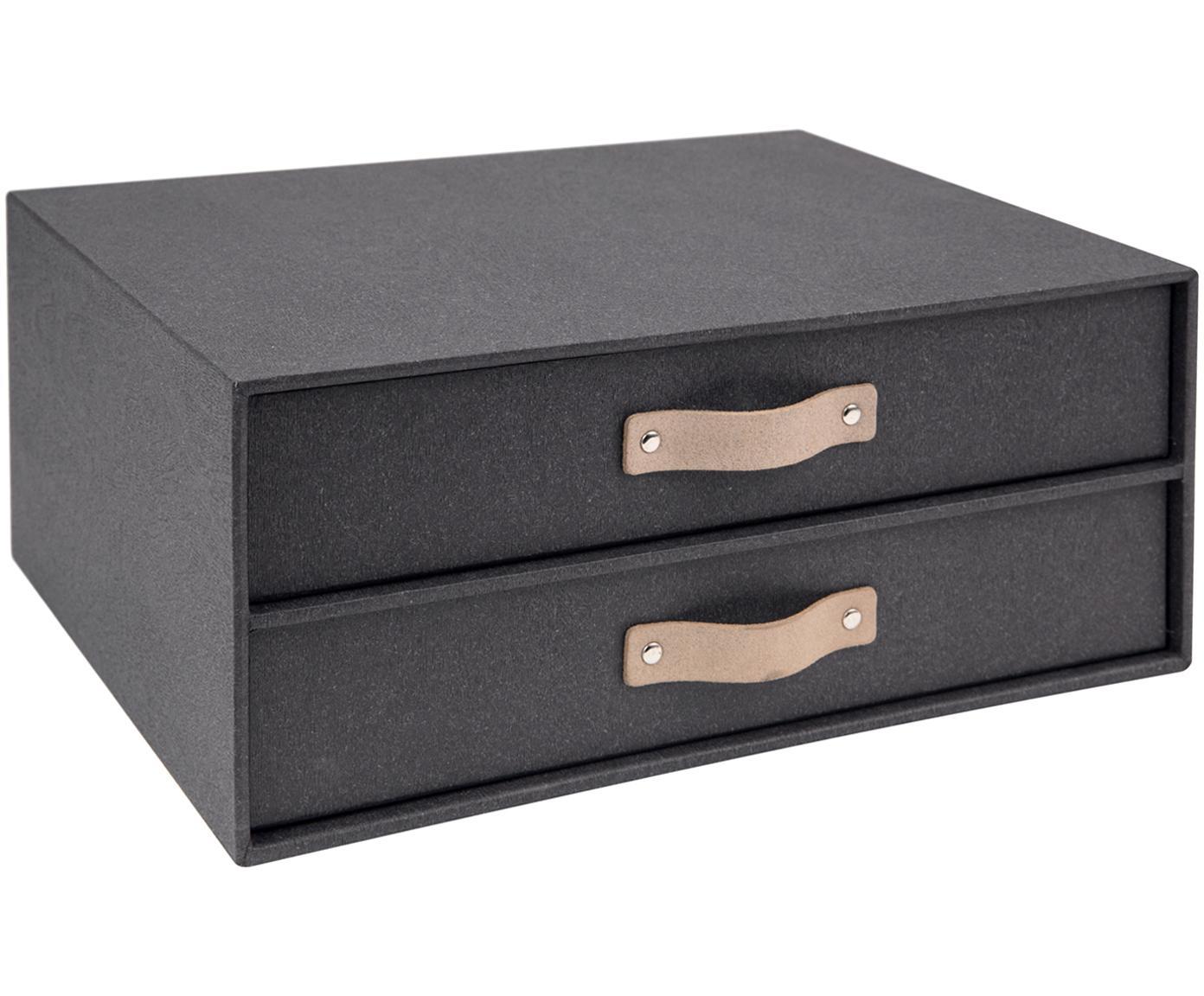Bureau organizer Birger II, Organizer: massief karton, met houtd, Organizer buitenzijde: zwart. Organizer binnenzijde: zwart. Handvat: beige, 33 x 15 cm