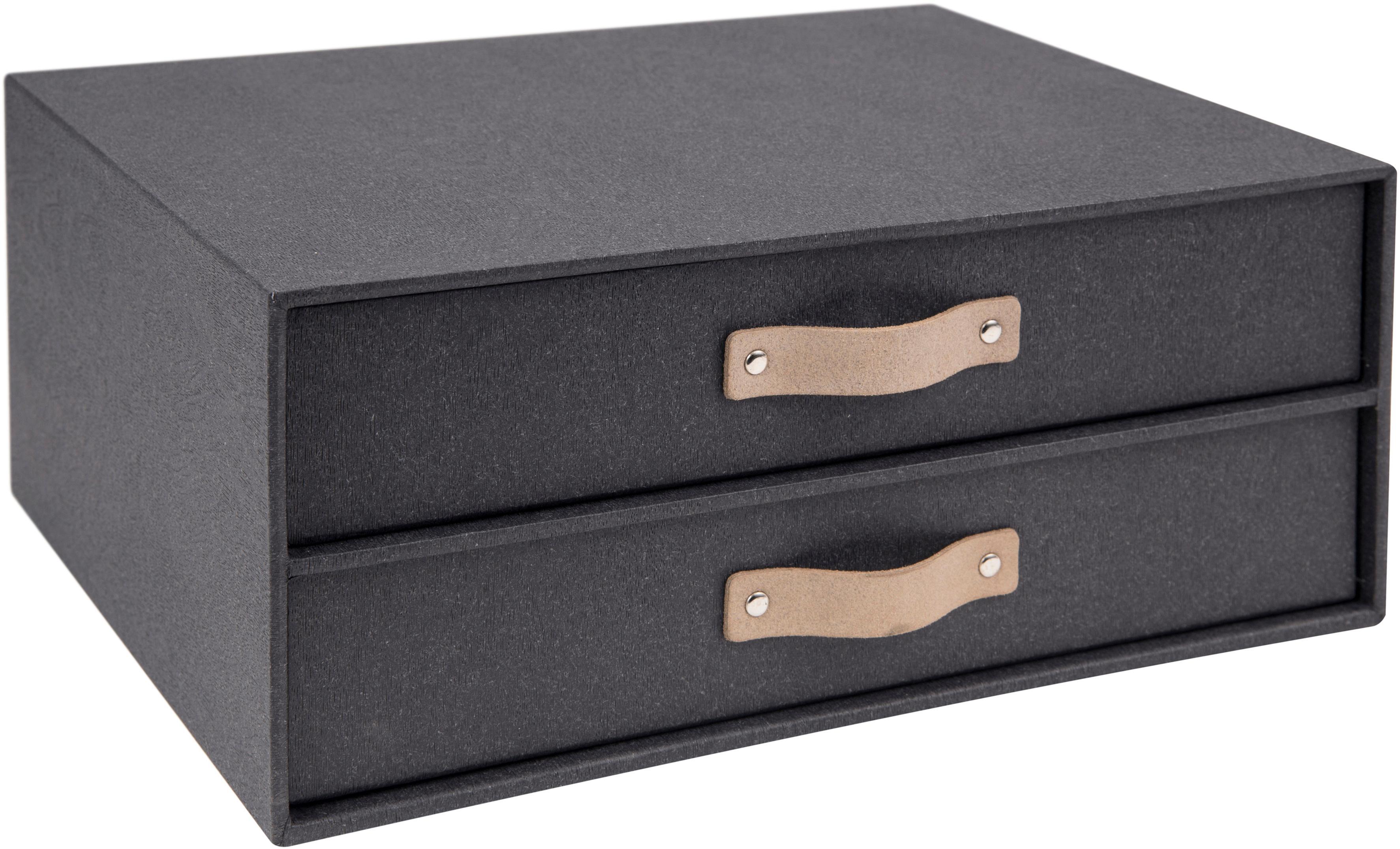 Organizador de escritorio Birger II, Caja: cartón macizo, estampado , Asa: cuero, Negro, An 33 x Al 15 cm