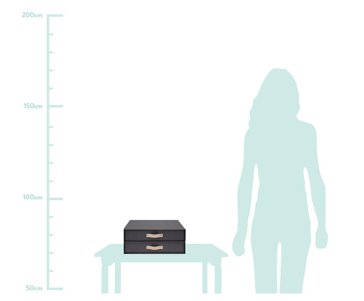 Organizer da ufficio Birger II, Organizer: cartone massiccio, stampa, Manico: pelle, Organizer all'esterno: nero Organizer all'interno: nero presa: beige, L 33 x A 15 cm