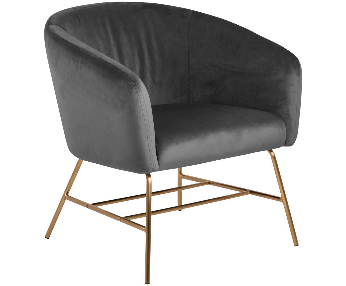 Fotel koktajlowy z aksamitu Ramsey, Tapicerka: aksamit poliestrowy 2500, Nogi: metal lakierowany, Ciemnyszary, odcienie mosiądzu, S 72 x G 67 cm