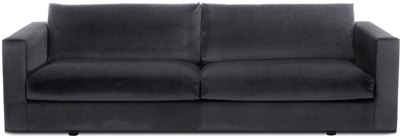 Samt-Sofa Balmira (3-Sitzer), Bezug: Samt (Polyester) 100.000 , Gestell: Massives Kiefernholz, Samt Dunkelgrau, B 240 x T 96 cm