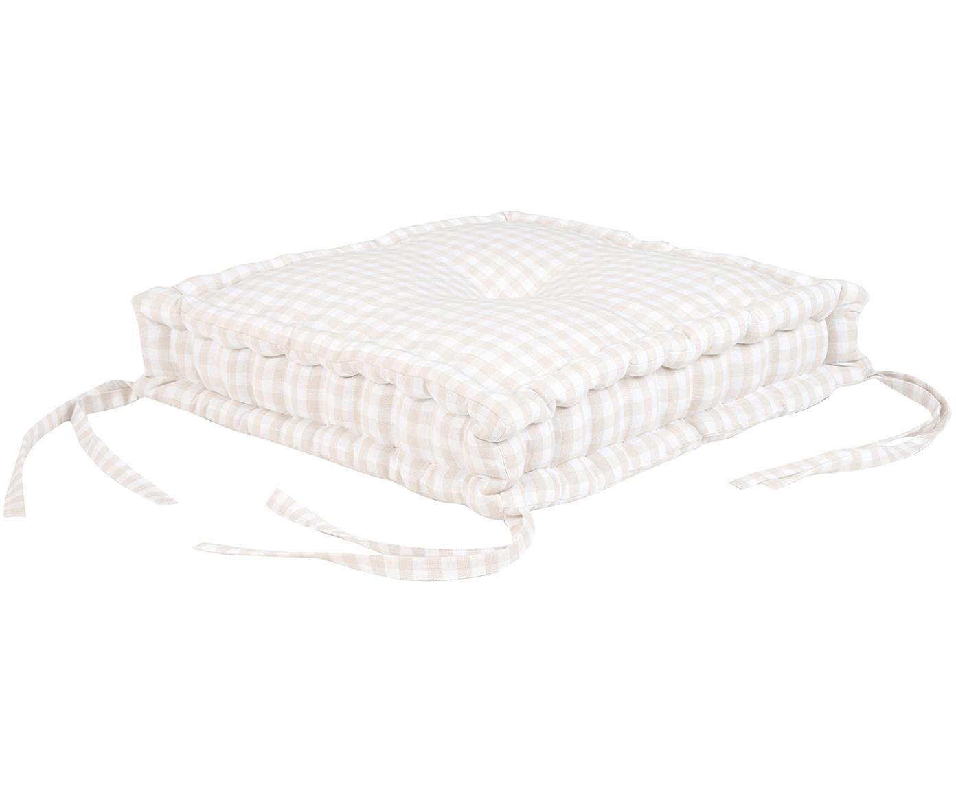 Cuscino seduta a quadretti Karolin, Beige, bianco crema, Larg. 45 x Lung. 45 cm