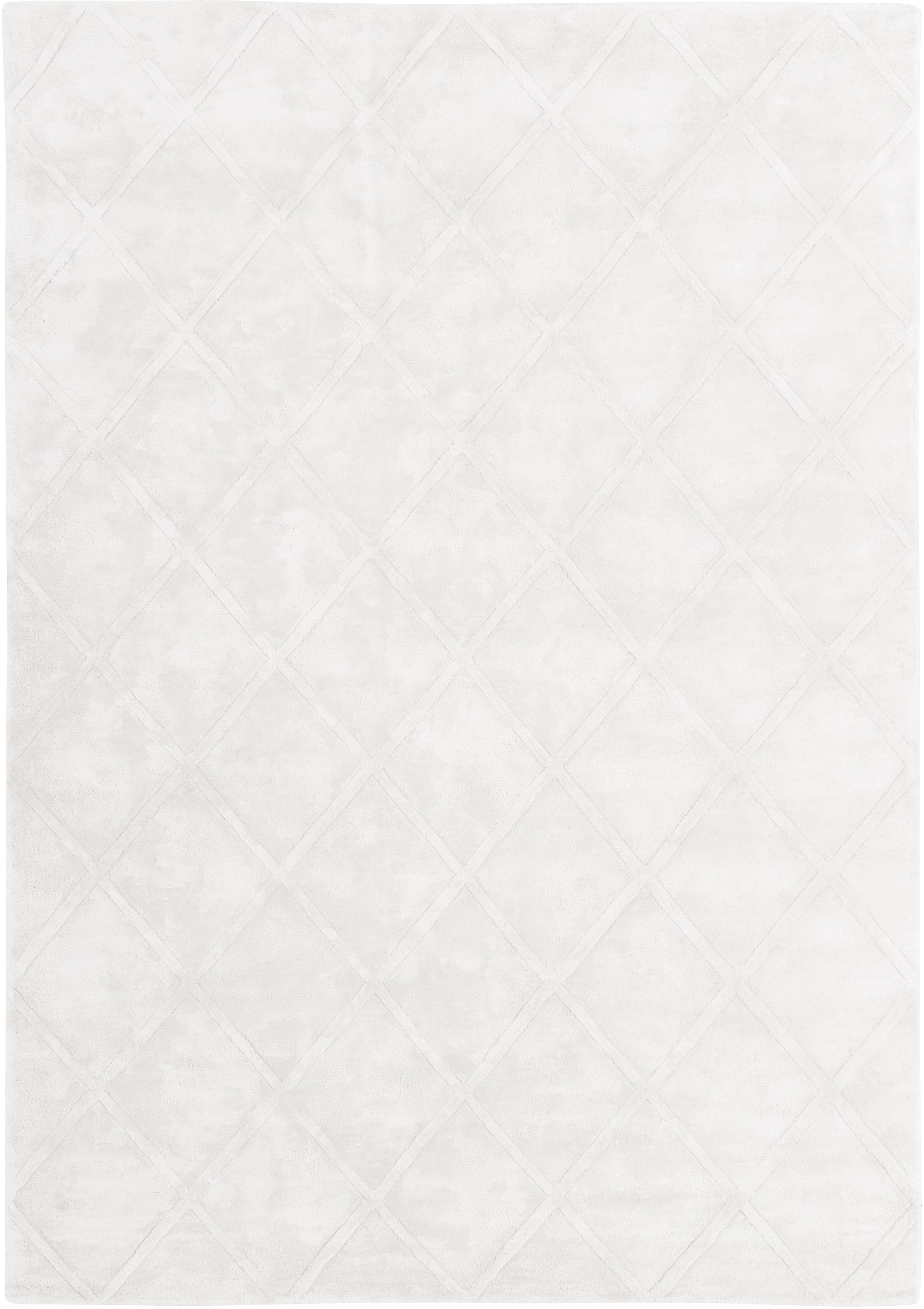 Handgetuft viscose vloerkleed Shiny in crème kleur met ruitjesmotief, Bovenzijde: 100% viscose, Onderzijde: 100% katoen, Crèmekleurig, B 120 x L 180 cm (maat S)
