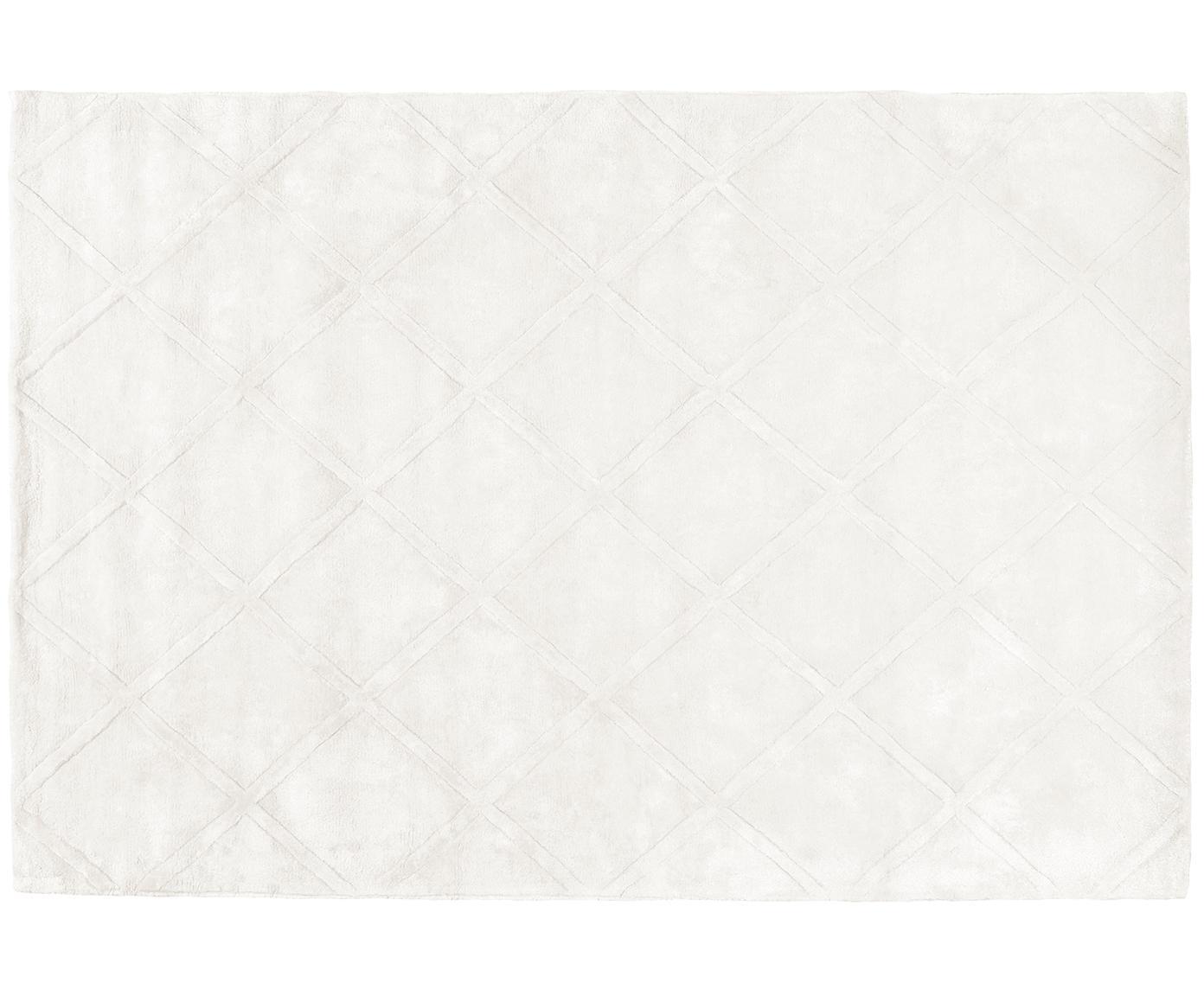 Handgetufteter Viskoseteppich Shiny in Creme mit Rautenmuster, Flor: 100% Viskose, Creme, B 120 x L 180 cm (Grösse S)