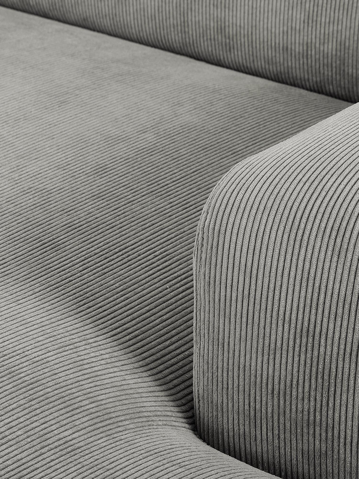 Sofa narożna ze sztruksu Melva (3-osobowa), Tapicerka: sztruks (92% poliester, 8, Stelaż: lite drewno sosnowe, płyt, Nogi: drewno sosnowe, Szary, S 240 x G 144 cm