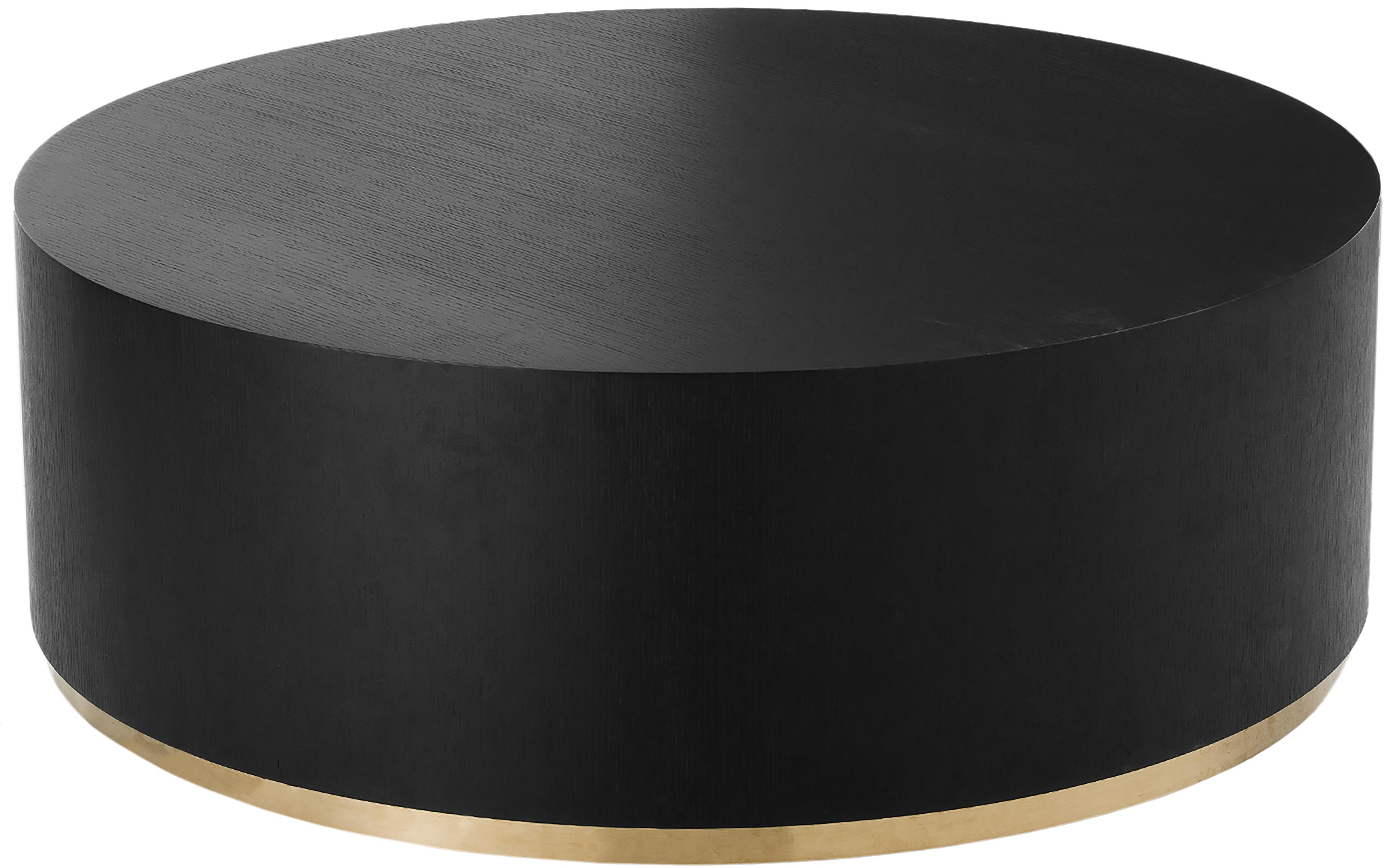 Tavolino da salotto rotondo Clarice, Corpo: legno di frassino, nero verniciato Base: dorato, Ø 100 x Alt. 36 cm