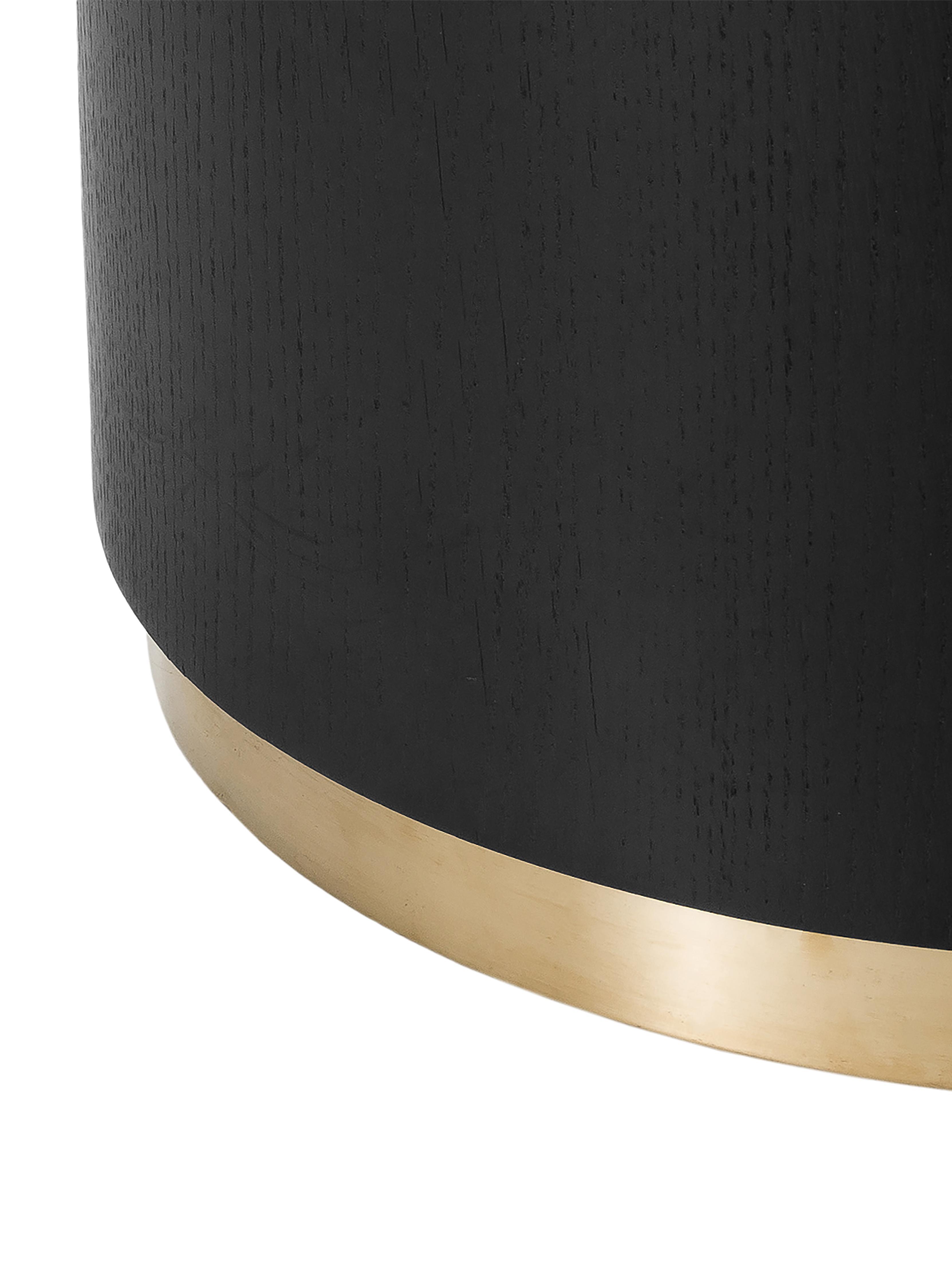 Mesa de centro grande Clarice, Estructura: tablero de fibras de dens, Estructura: madera de roble, negro pintado Patas: dorado brillante cepillado, Ø 100 x Al 36 cm