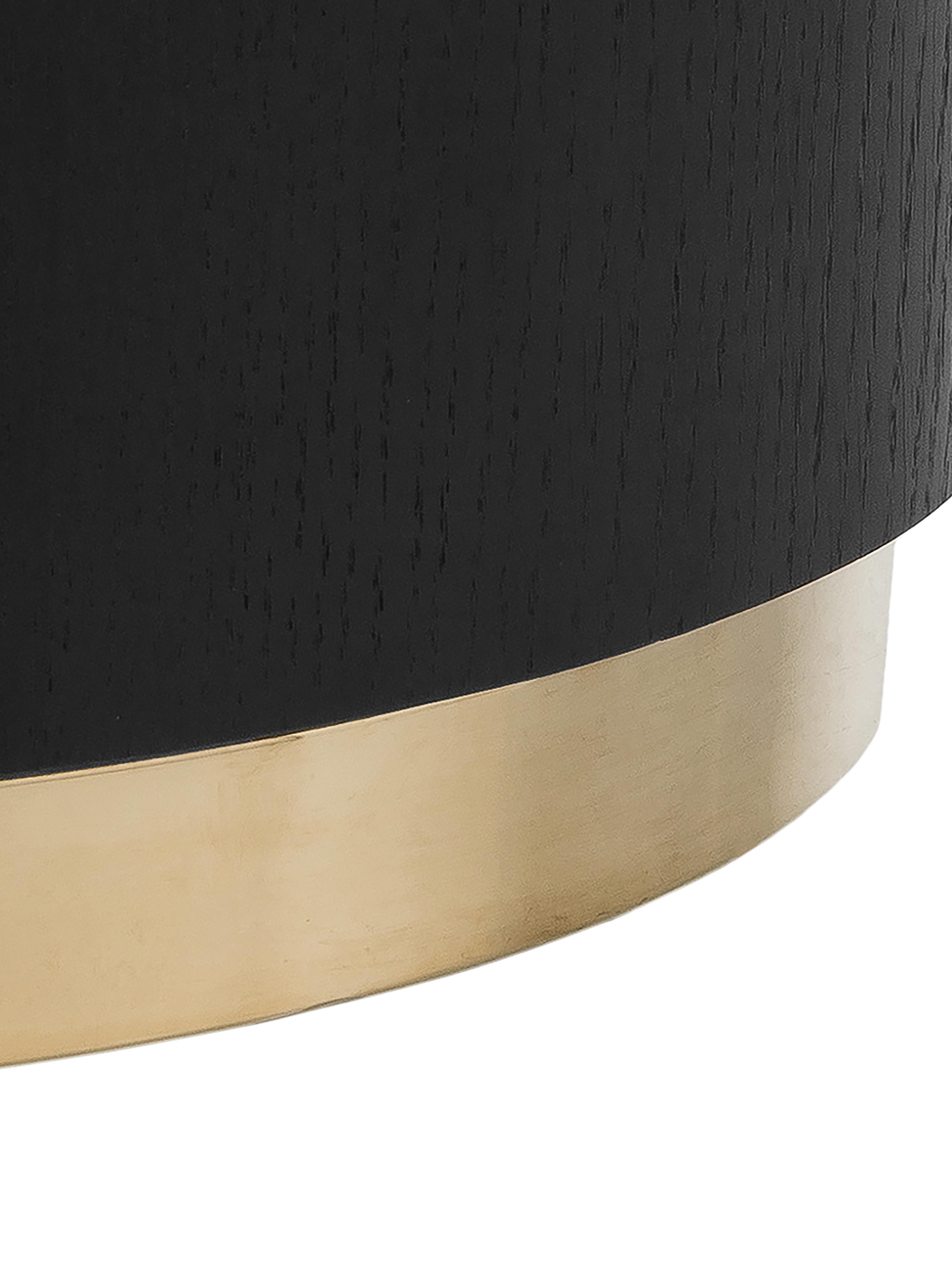 Großer Couchtisch Clarice in Schwarz, Korpus: Mitteldichte Holzfaserpla, Fuß: Metall, beschichtet, Korpus: Eichenholz, schwarz lackiertFuß: Goldfarben, ∅ 90 x H 35 cm