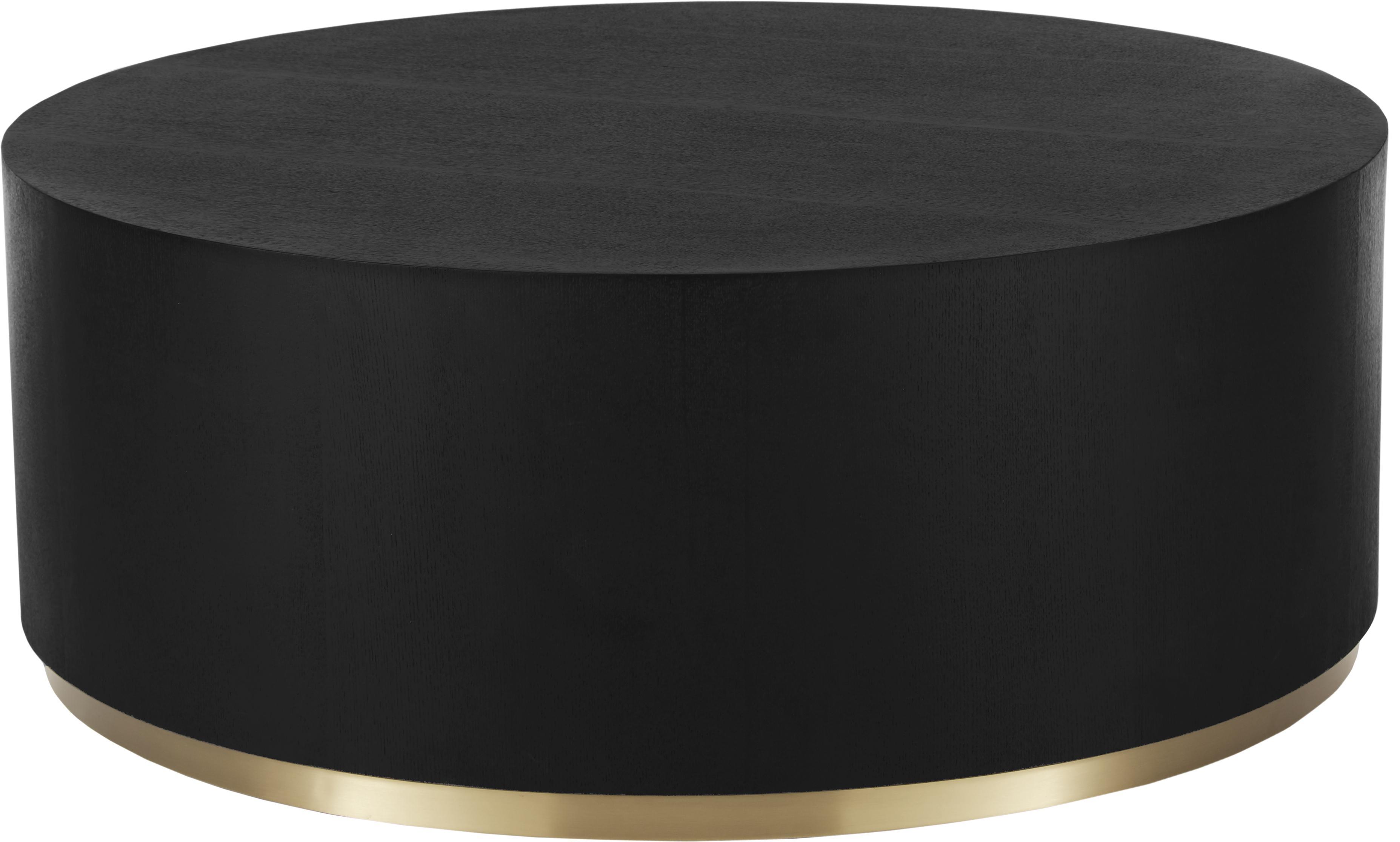 Mesa de centro grande Clarice, Estructura: tablero de fibras de dens, Roble, negro pintado, dorado brillante, Ø 90 x Al 35 cm